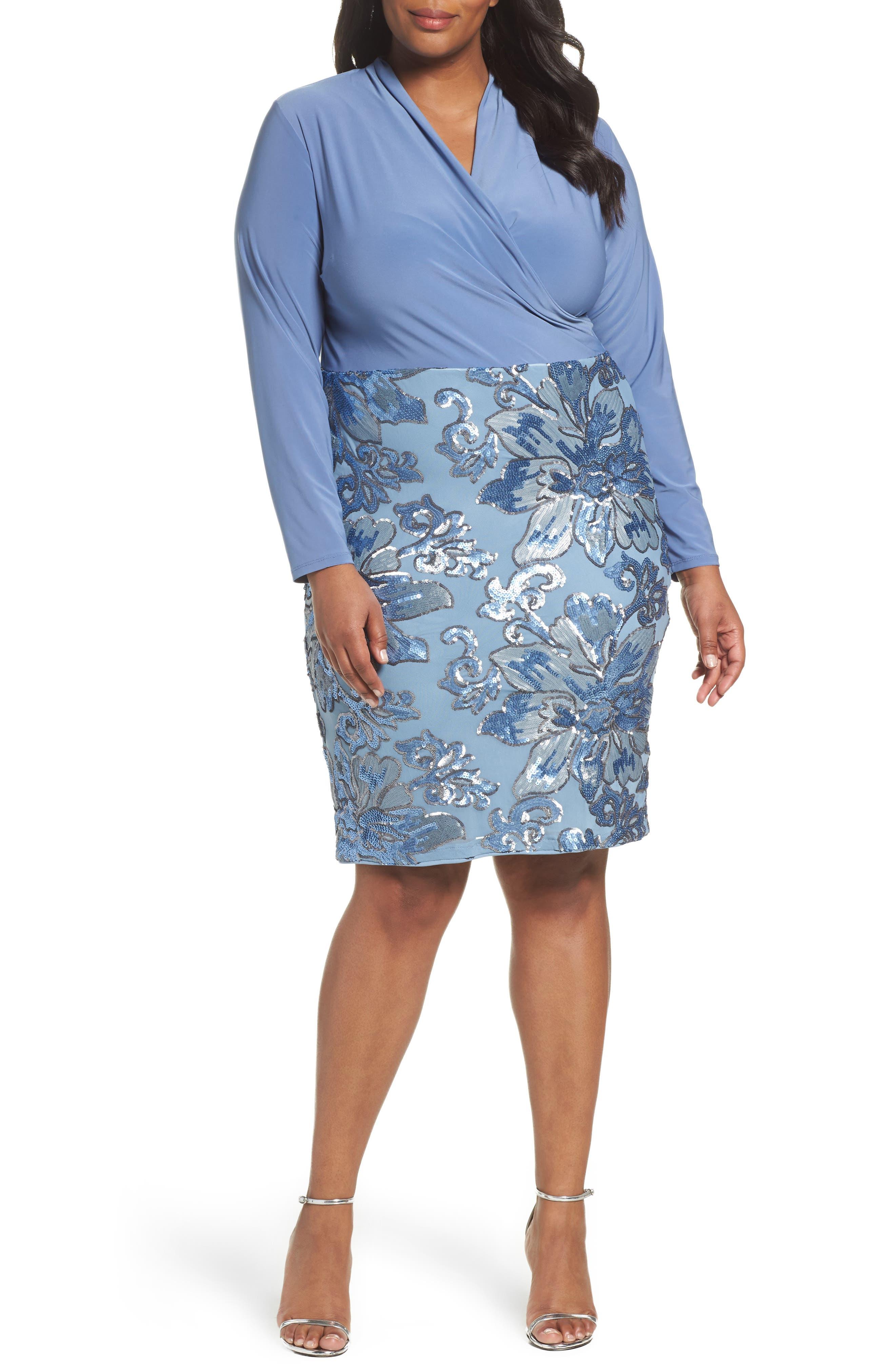 Sequin Faux Wrap Sheath Dress,                         Main,                         color, Periwinkle