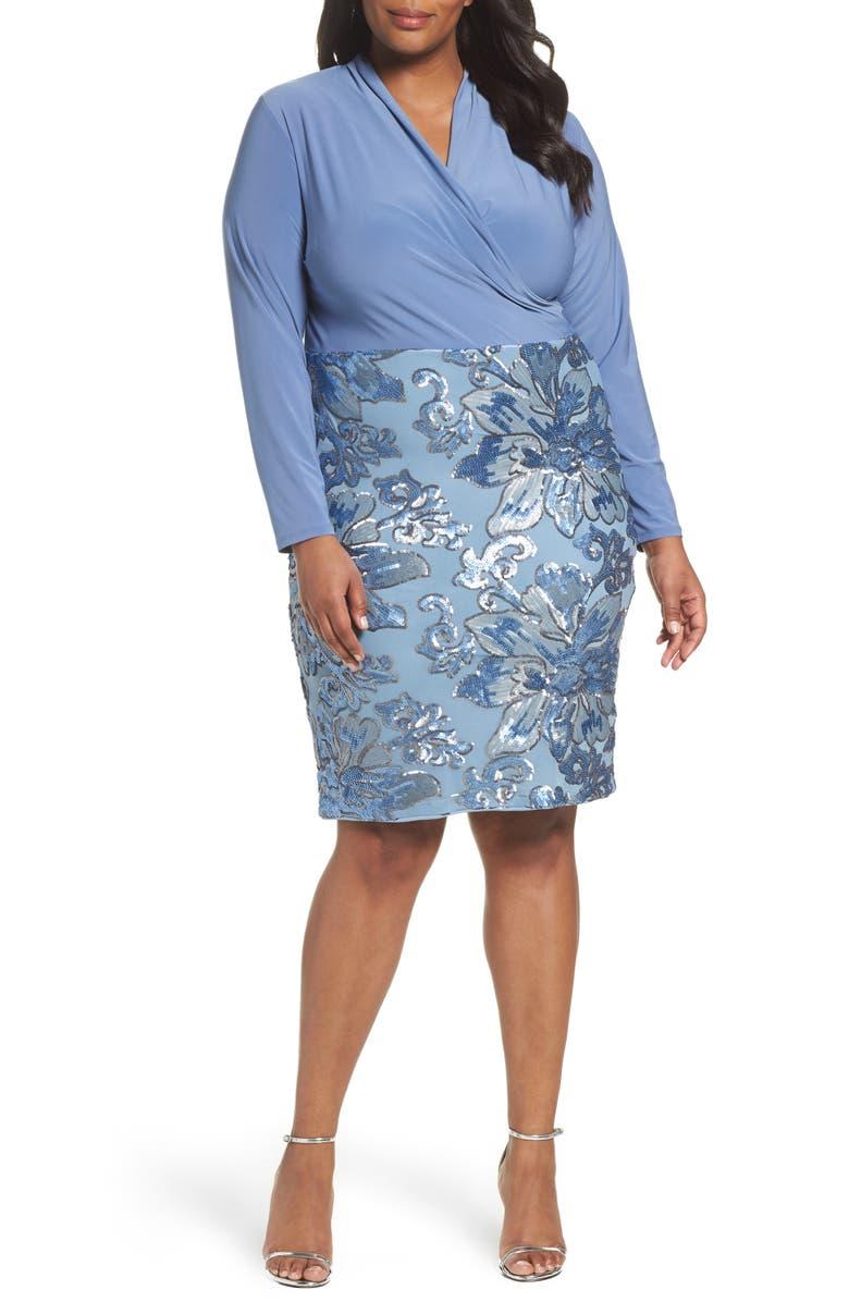 Sequin Faux Wrap Sheath Dress