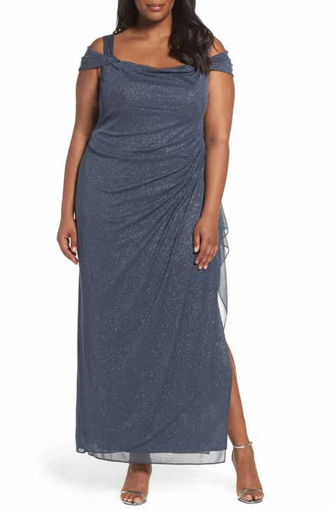 60db26bc07 Alex Evenings Cold Shoulder Sheath Gown (Plus Size)