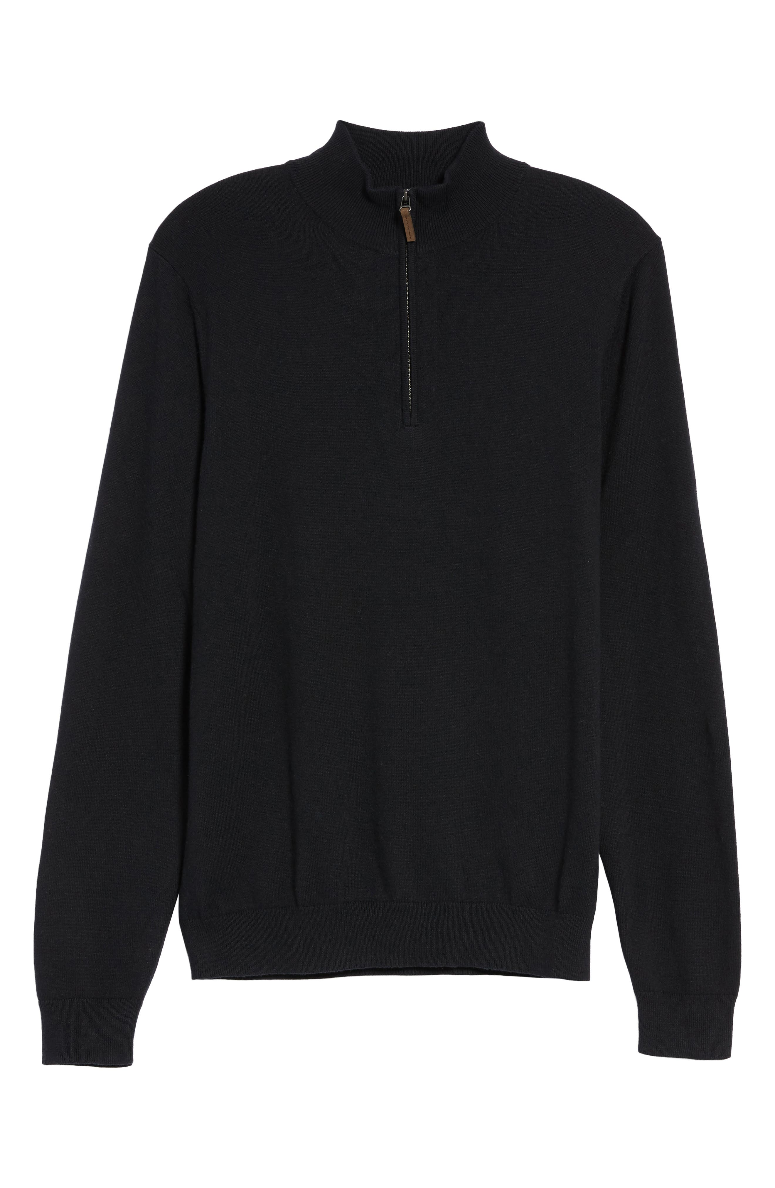 Half Zip Cotton & Cashmere Pullover,                             Alternate thumbnail 2, color,                             Black Caviar