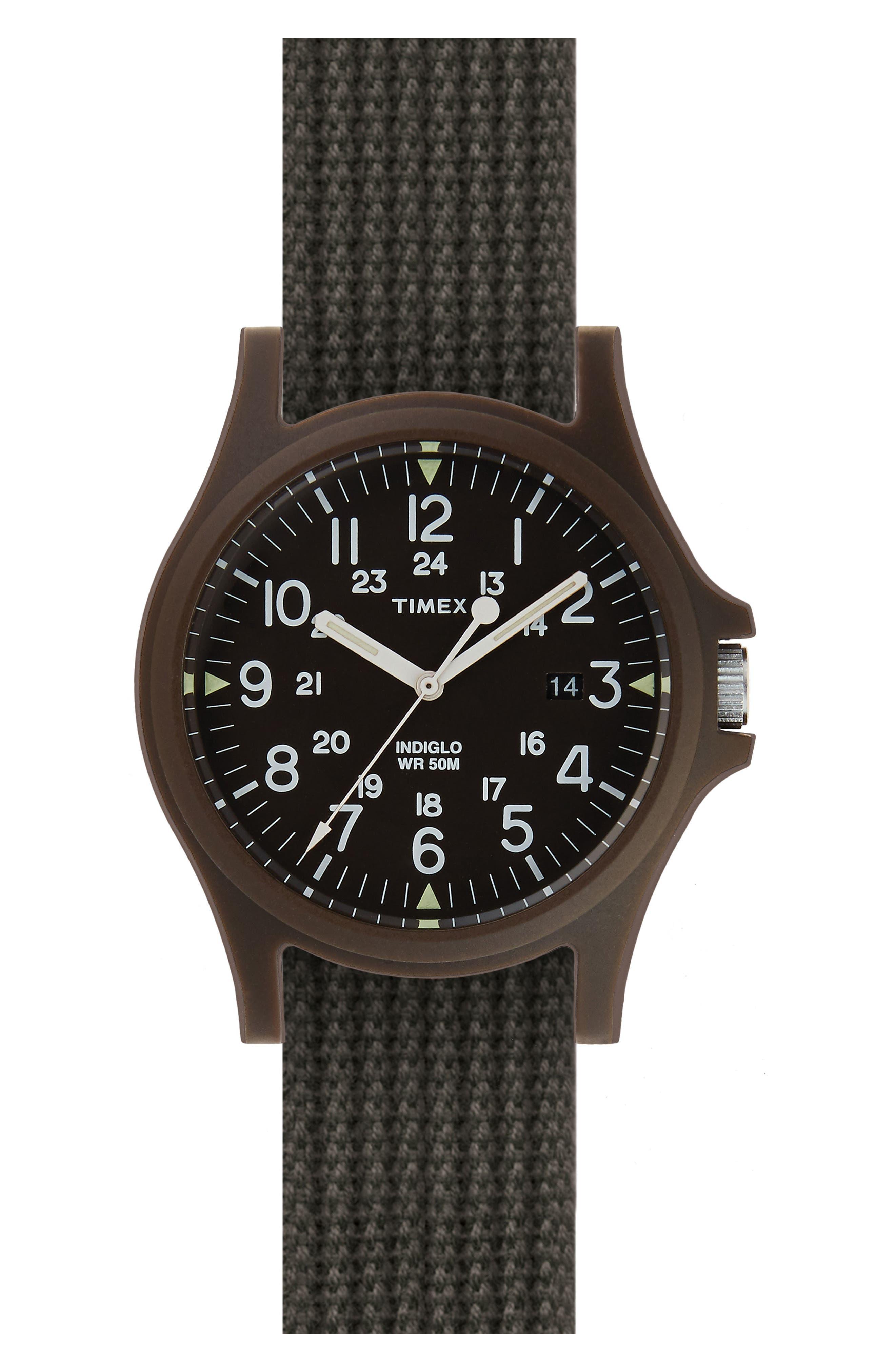 Acadia NATO Strap Watch, 40mm,                             Main thumbnail 1, color,                             Black/ Army Green