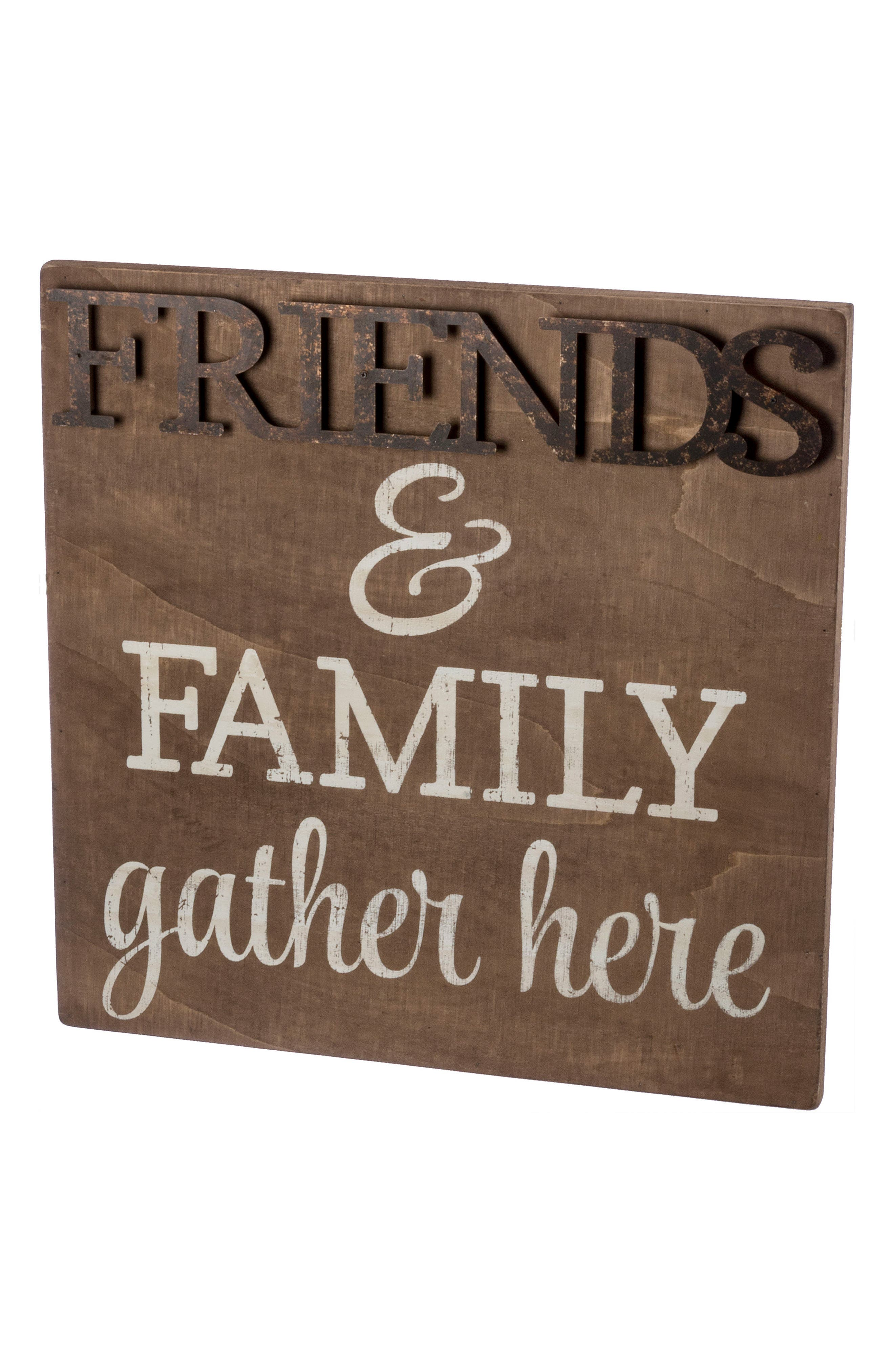 Friends & Family Wood Sign,                         Main,                         color, Brown