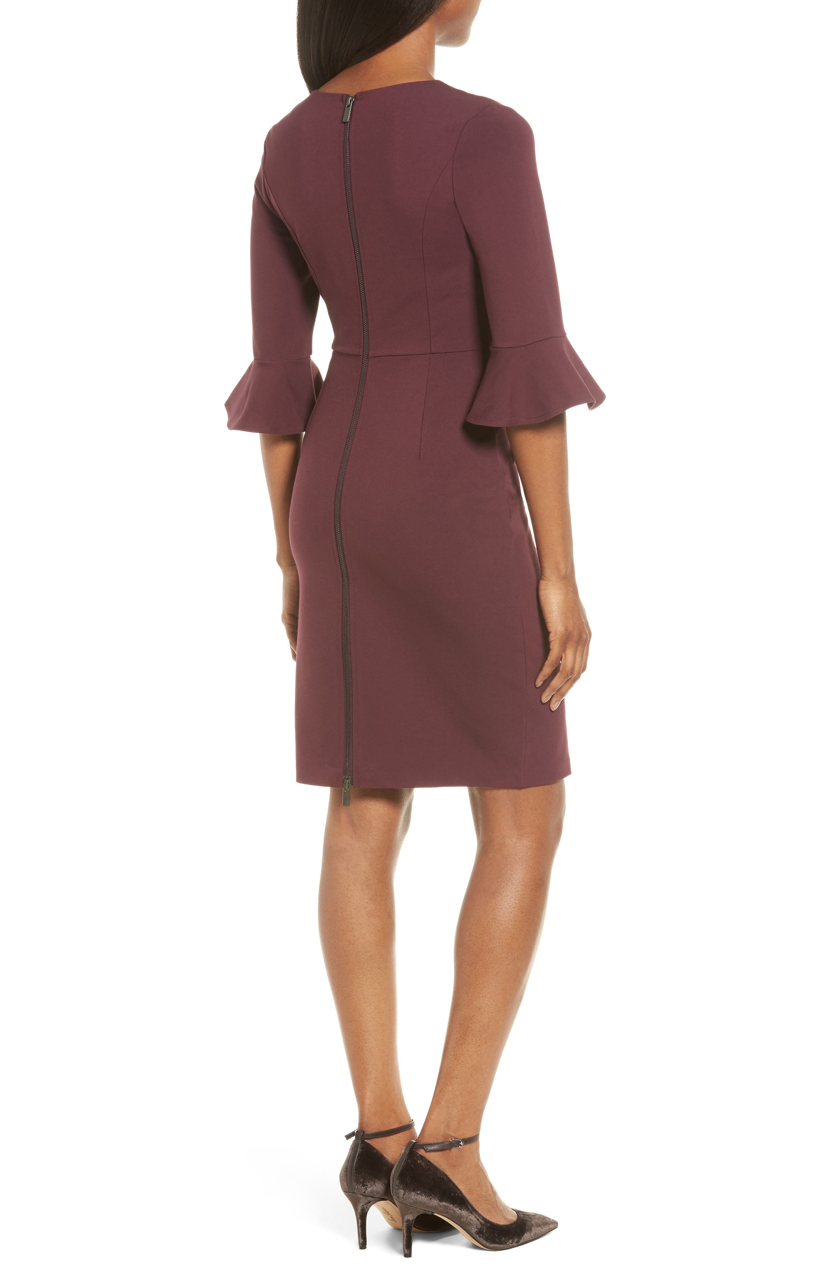 Alternate Image 2  - Halogen® Ruffle Sleeve Ponte Sheath Dress (Regular & Petite)