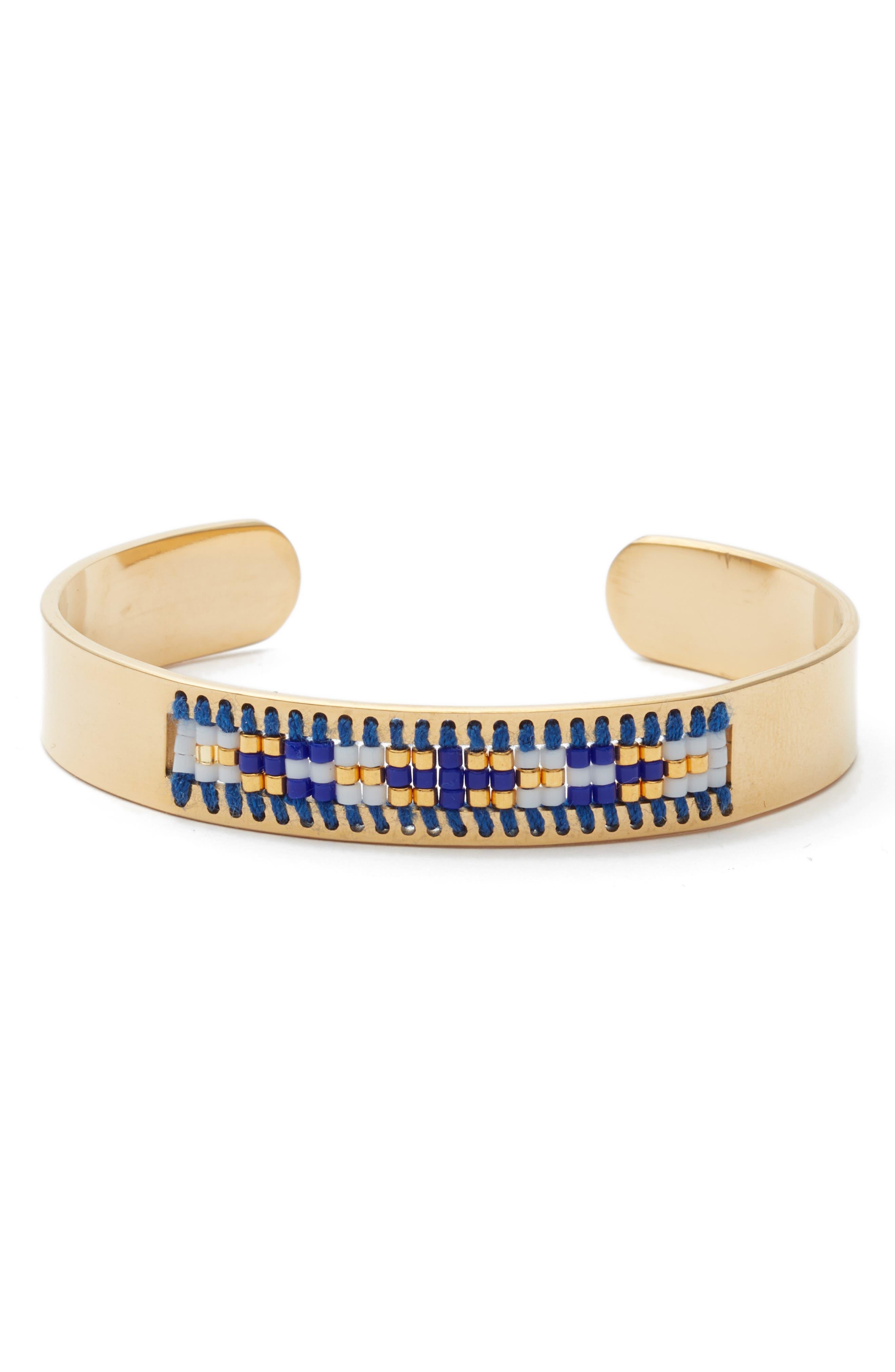 Mesa Cuff Bracelet,                             Main thumbnail 1, color,                             Navy/ White/ Gold