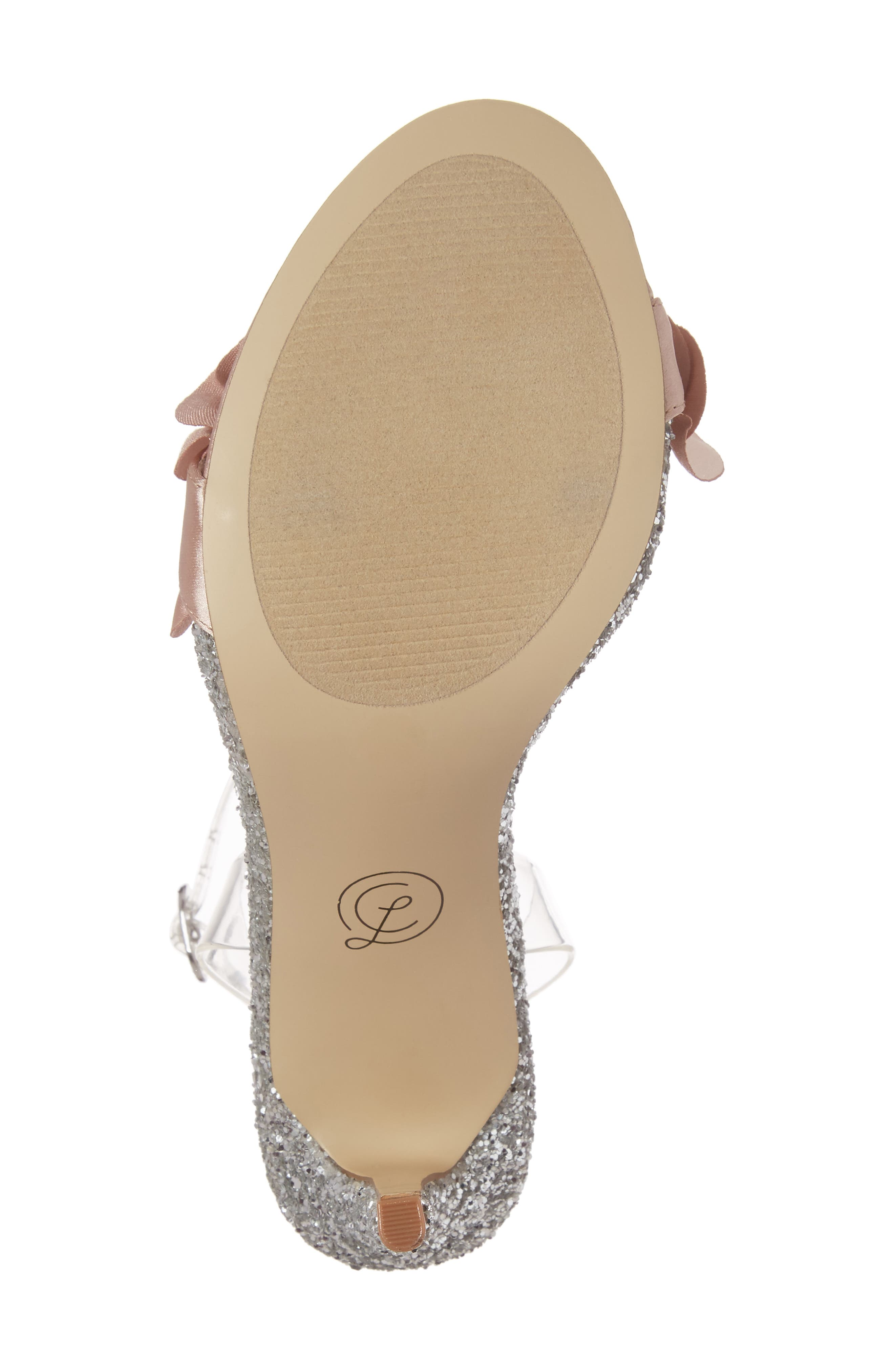 Janey Ruffled Sandal,                             Alternate thumbnail 6, color,                             Nude/ Clear