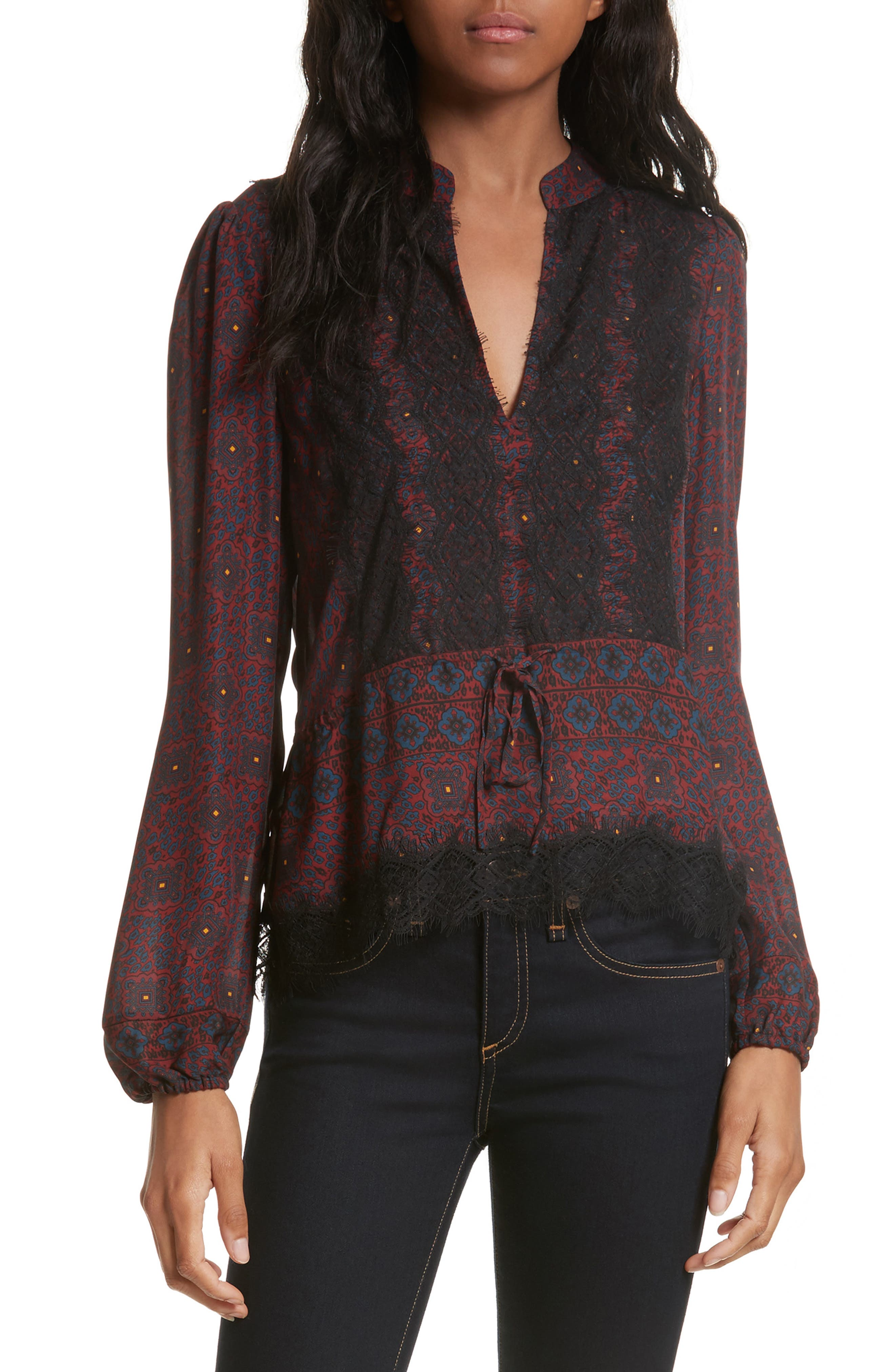Lindberg Lace Trim Print Silk Blouse,                         Main,                         color, Bordeaux/ Navy