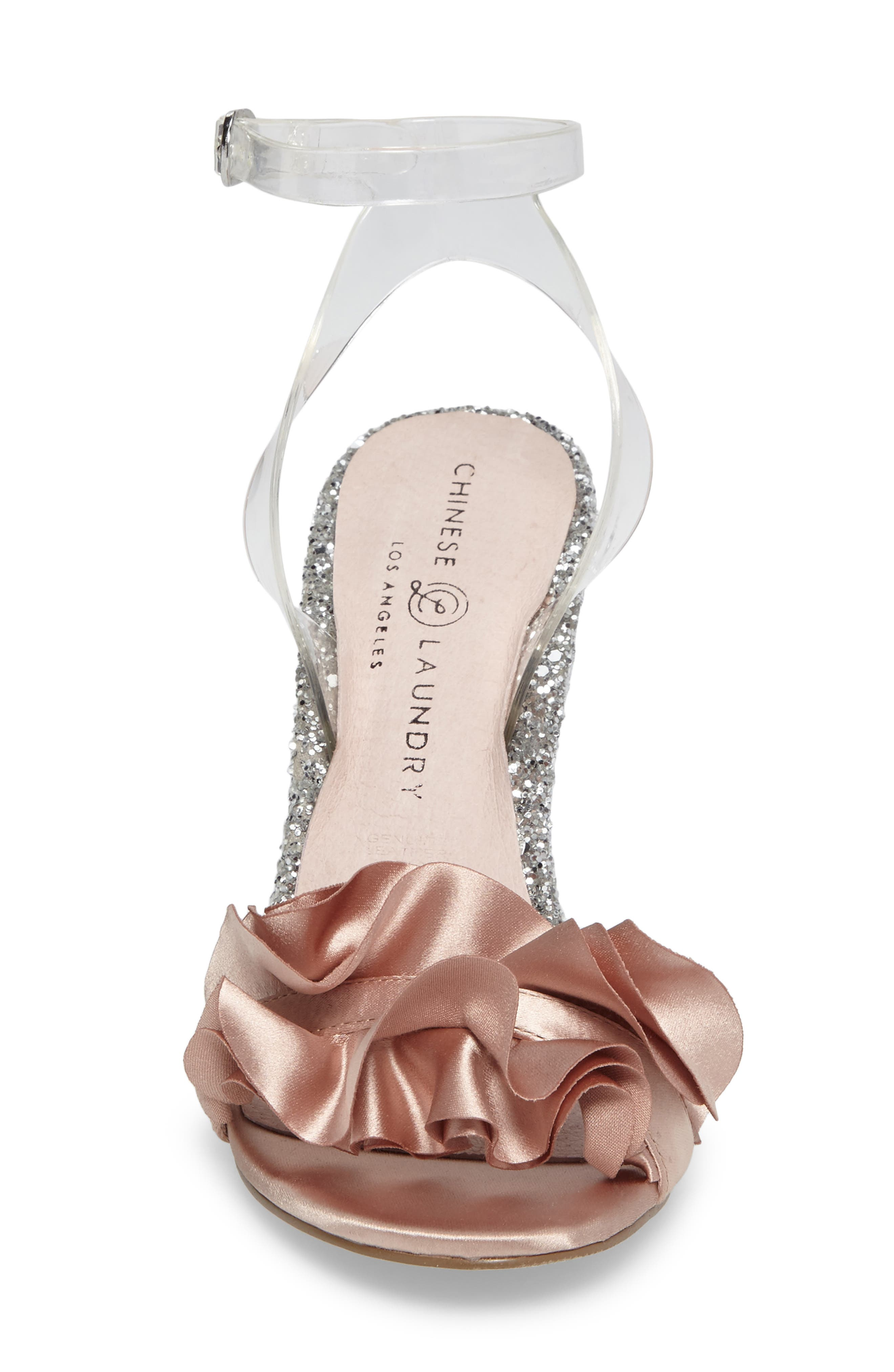 Janey Ruffled Sandal,                             Alternate thumbnail 4, color,                             Nude/ Clear