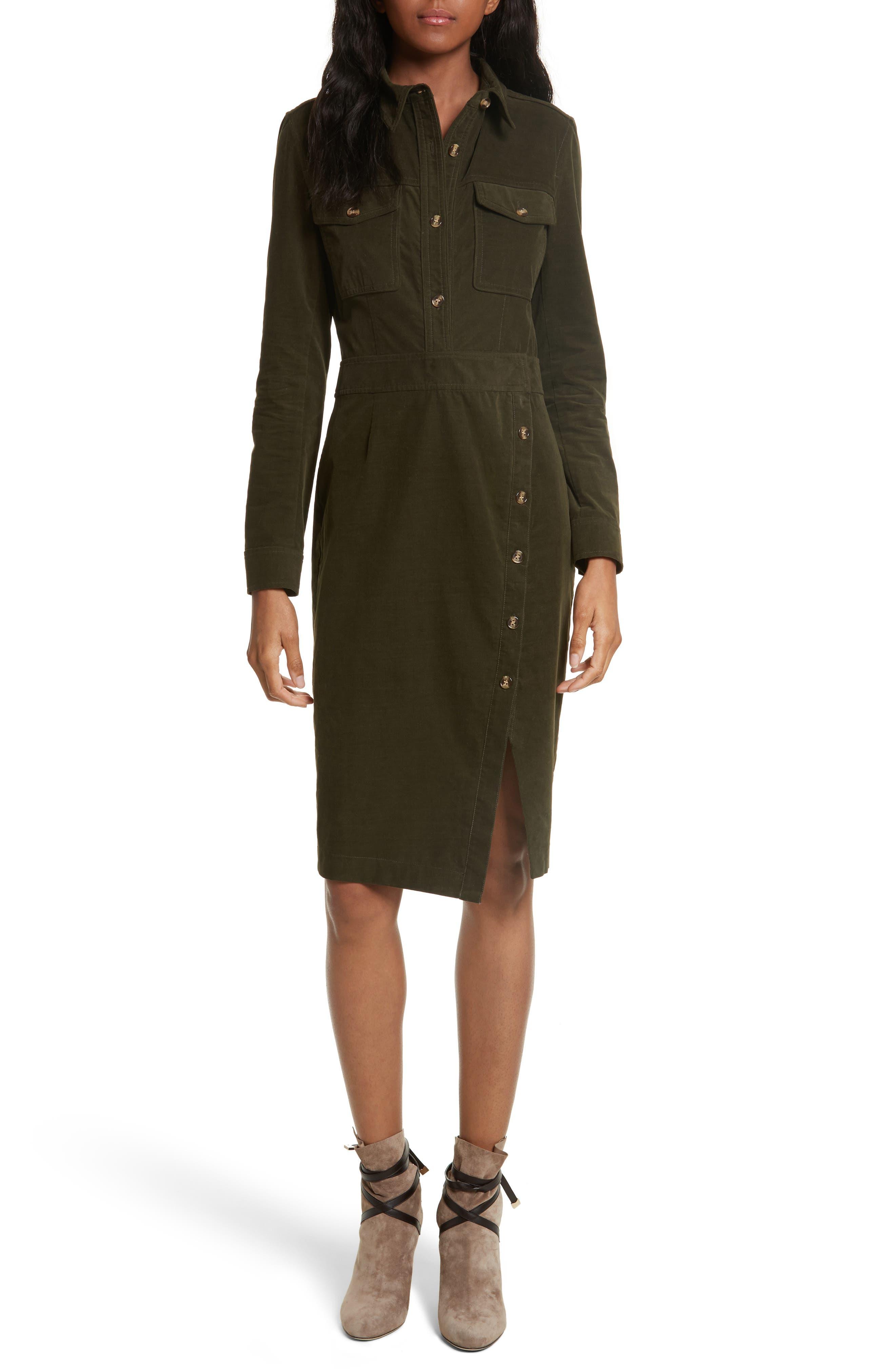 Britton Corduroy Shirtdress,                         Main,                         color, Army Green