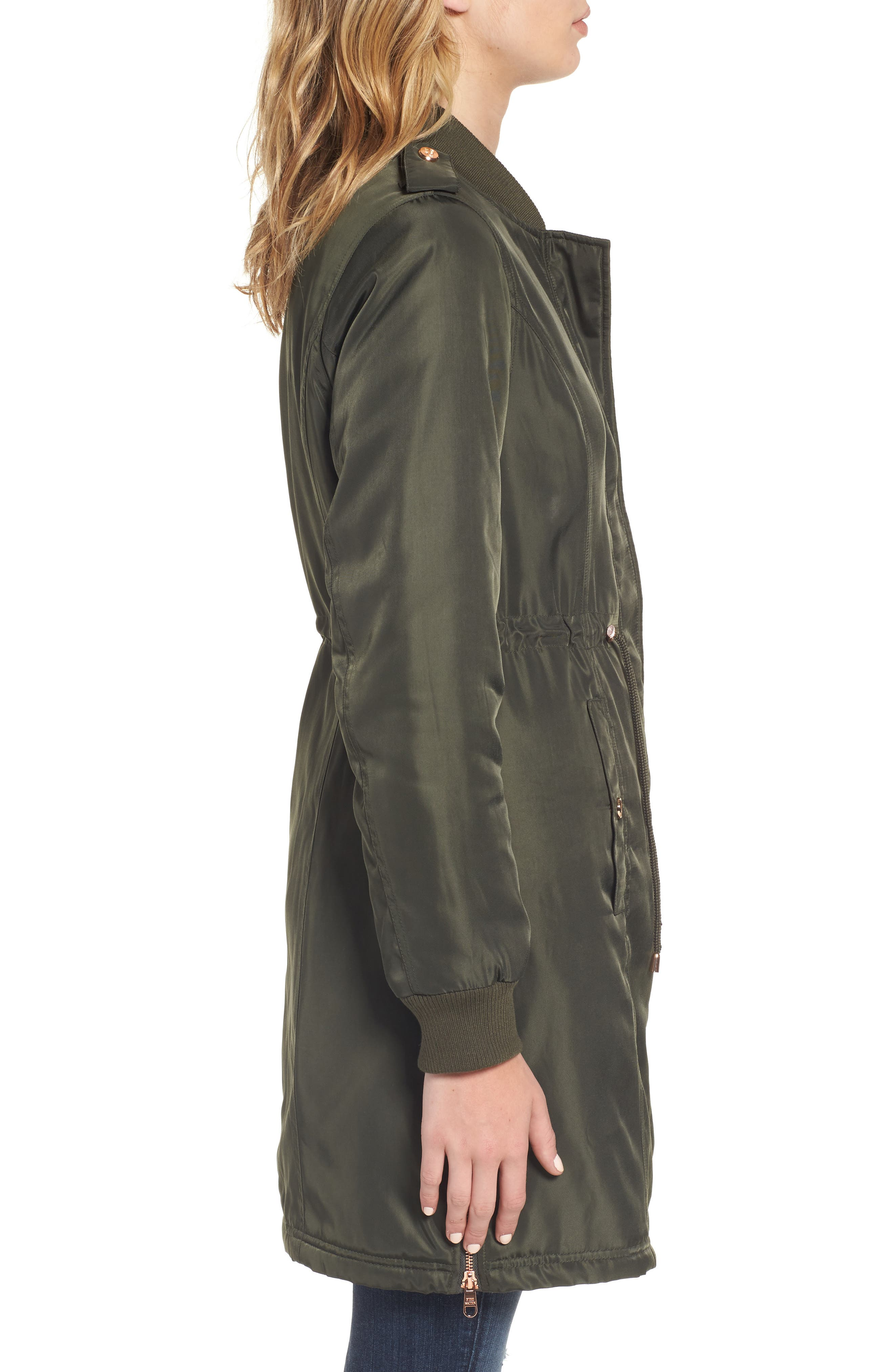 Drawstring Waist Anorak,                             Alternate thumbnail 3, color,                             Olive