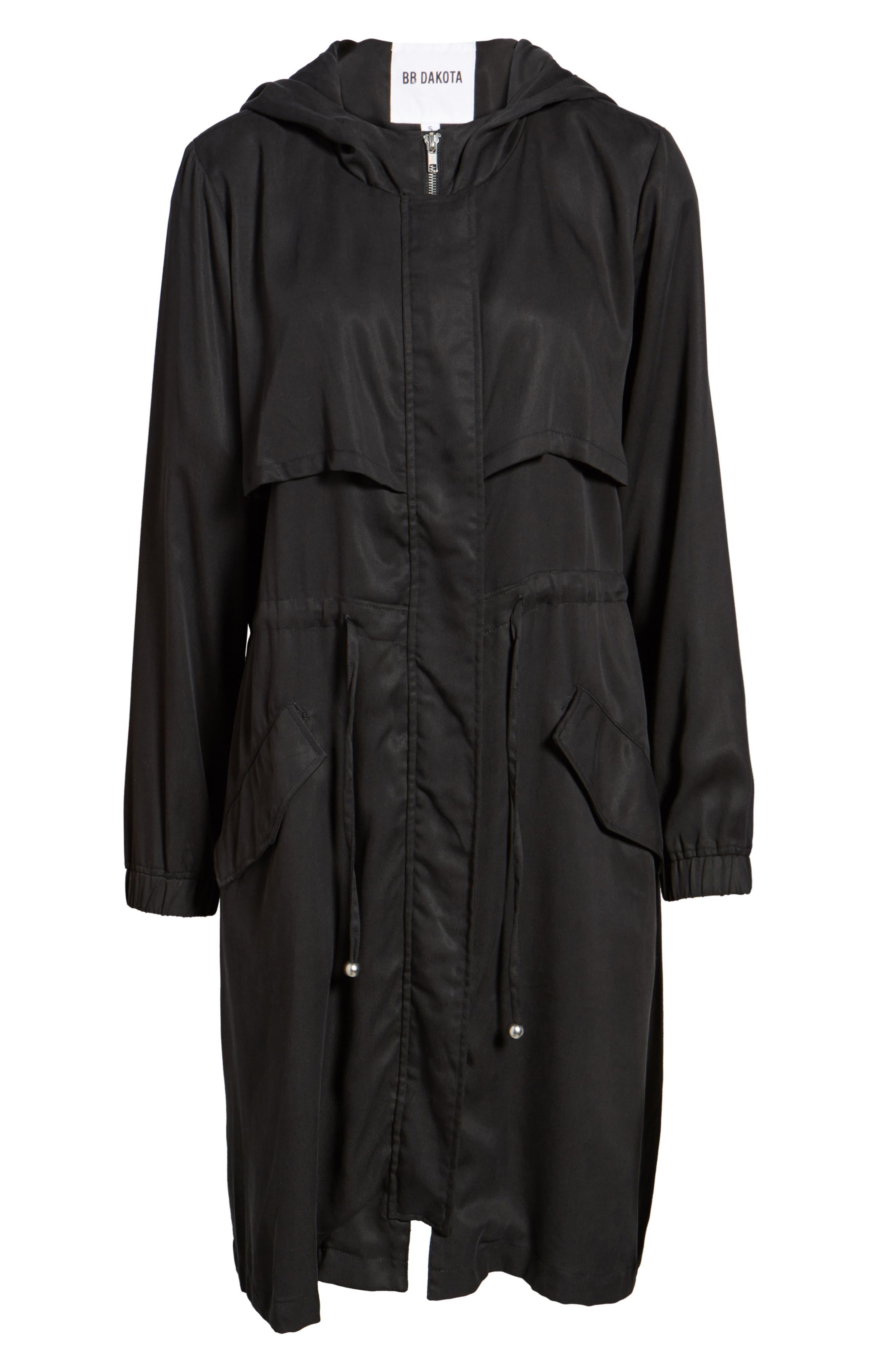Tyler Hooded Trench Coat,                             Alternate thumbnail 6, color,                             Black