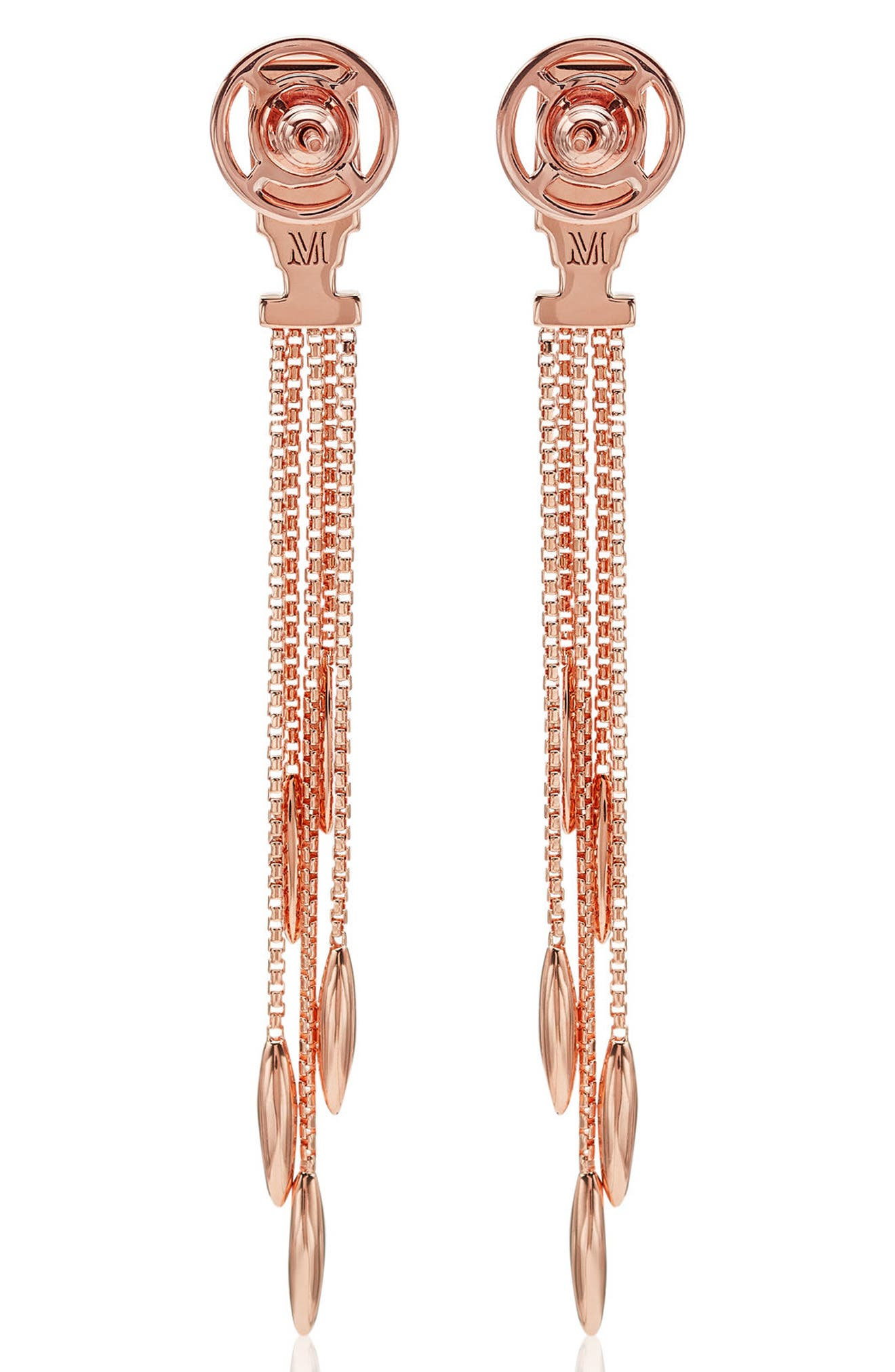 Baja Deco Fringe Earrings,                             Alternate thumbnail 2, color,                             Rose Gold/ Labradorite