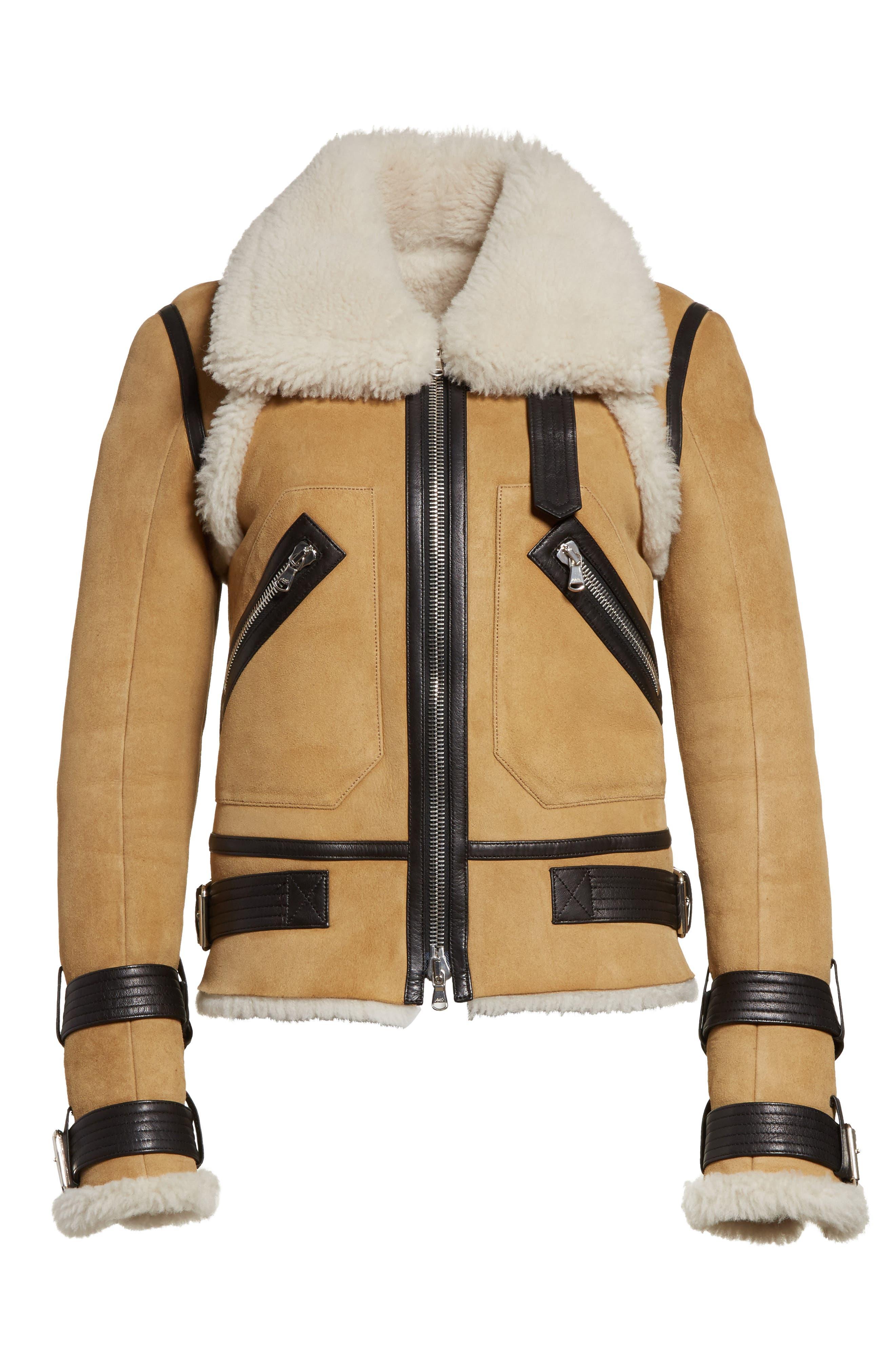 Windsor Genuine Shearling Pilot Jacket,                             Alternate thumbnail 7, color,                             Beige