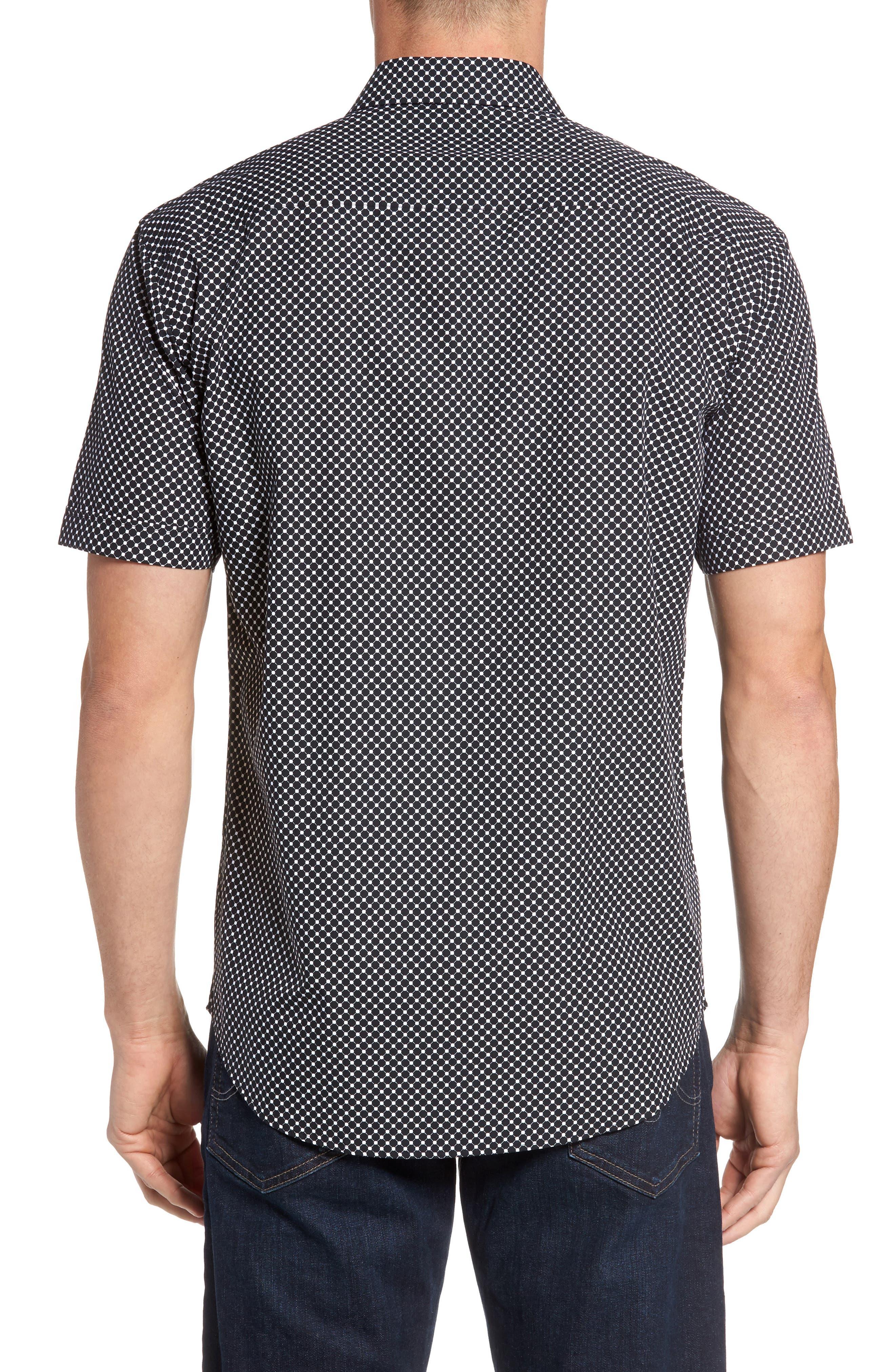 Shaped Fit Spot Grid Sport Shirt,                             Alternate thumbnail 2, color,                             Black