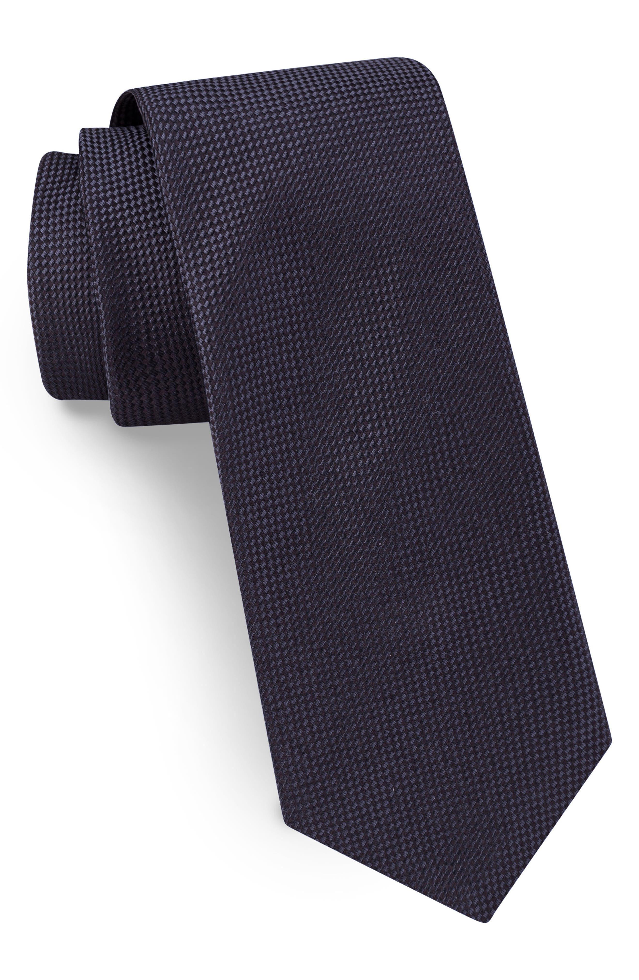 Solid Skinny Silk Tie,                             Main thumbnail 1, color,                             Black