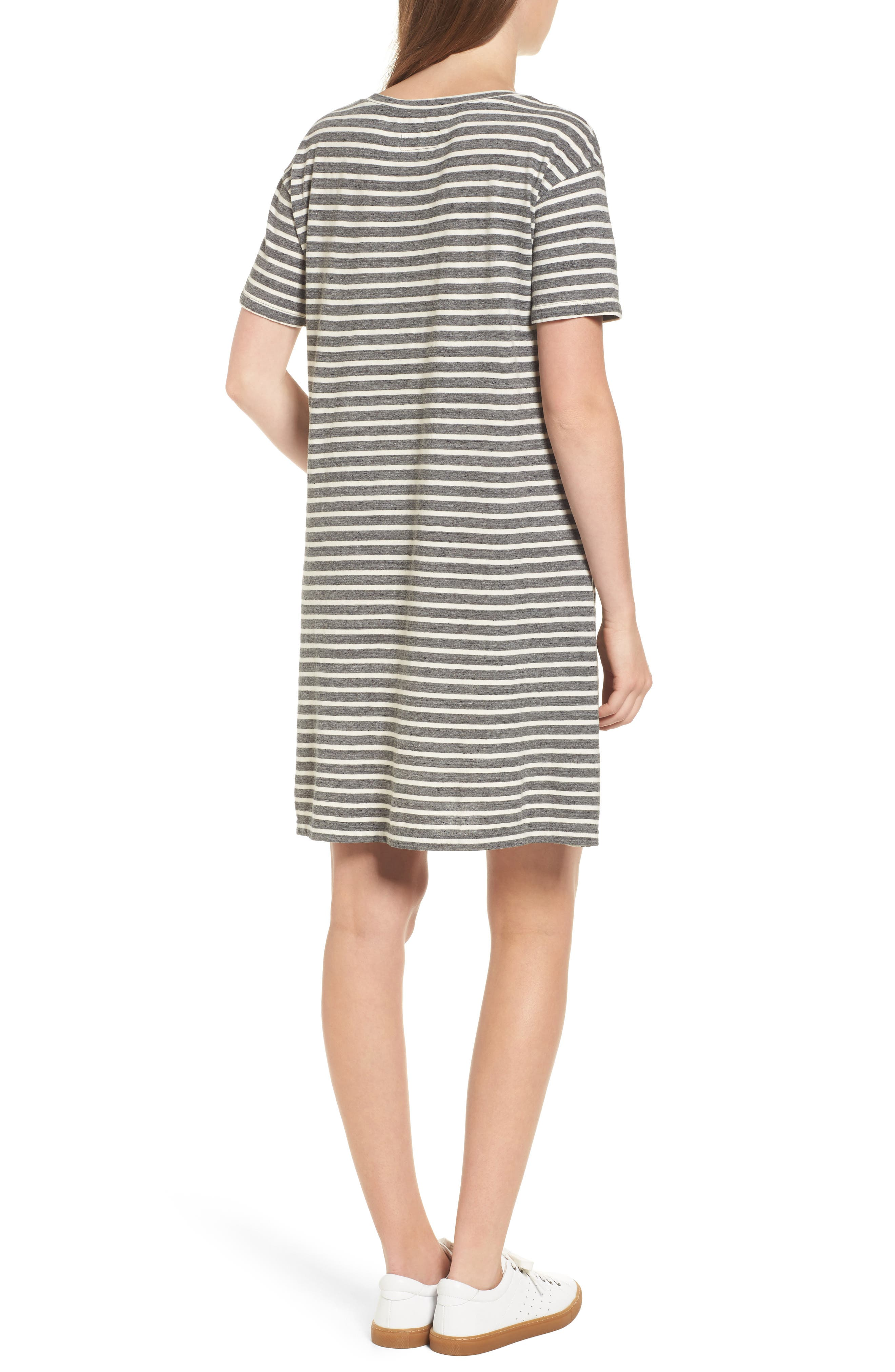 Stripe Knit T-Shirt Dress,                             Alternate thumbnail 2, color,                             Charcoal Anchor Stripe