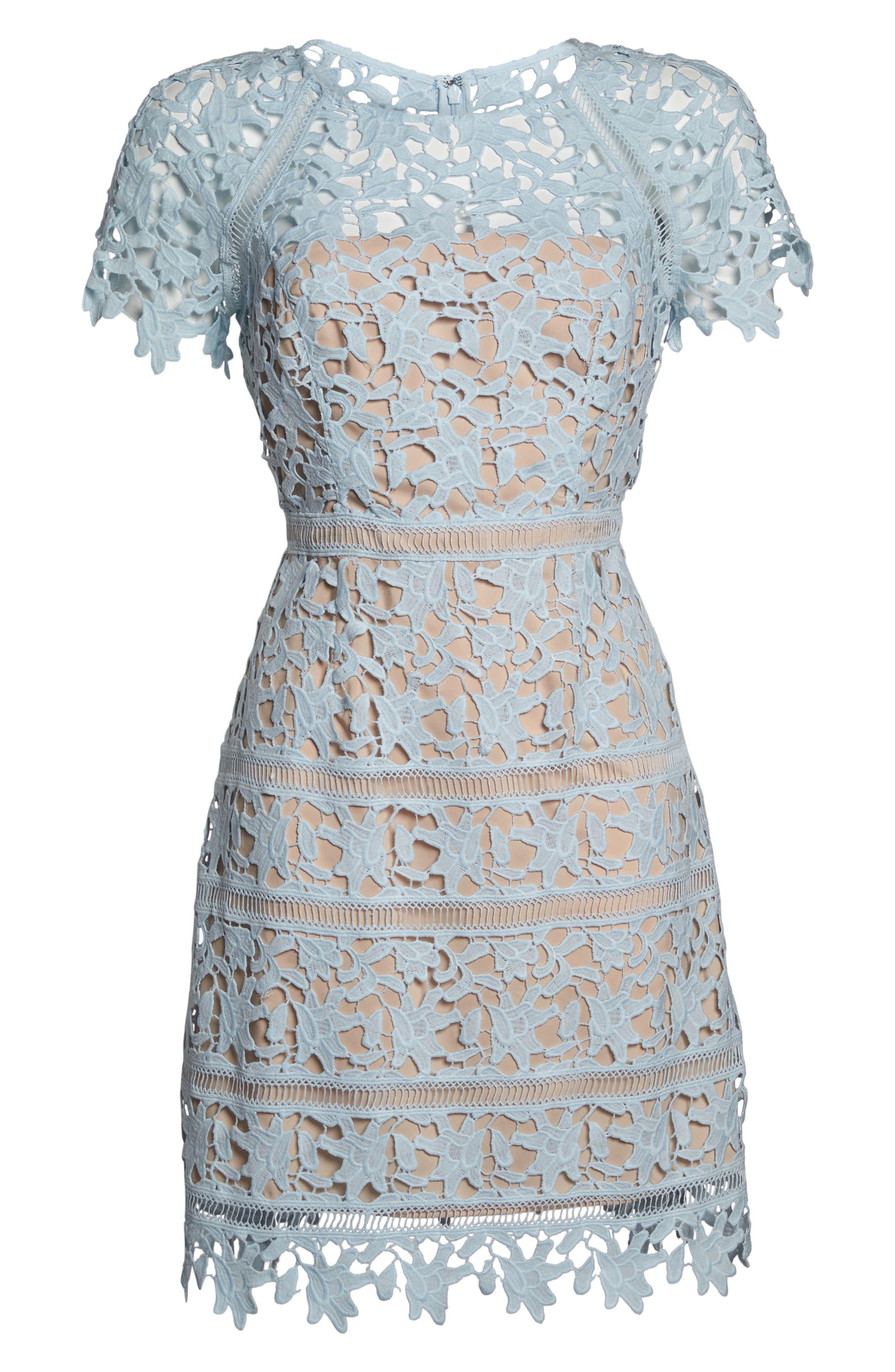 Crochet Overlay Dress,                             Alternate thumbnail 3, color,                             Blue