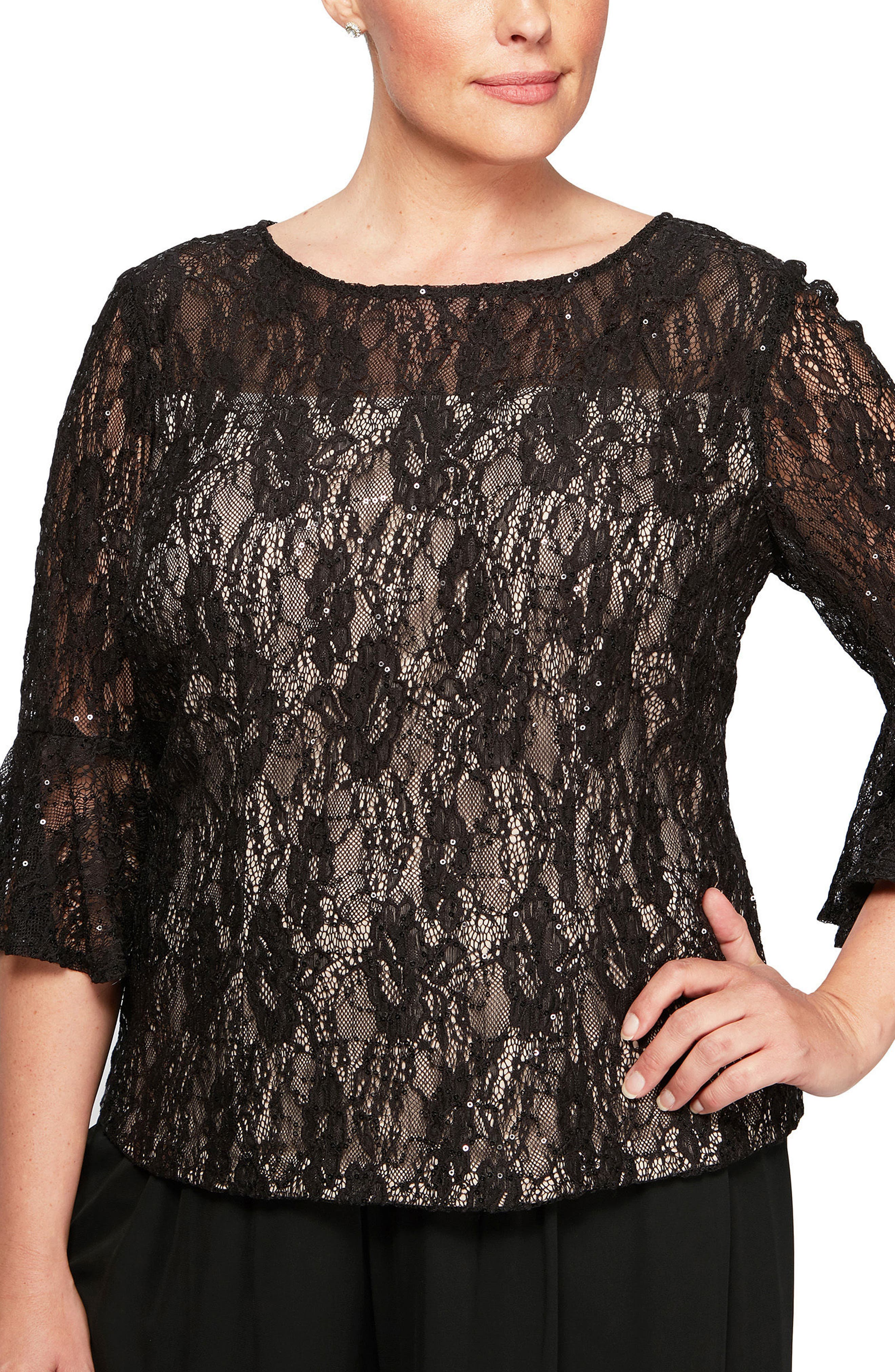 Bell Sleeve Sequin Lace Blouse,                             Main thumbnail 1, color,                             Black/ Nude