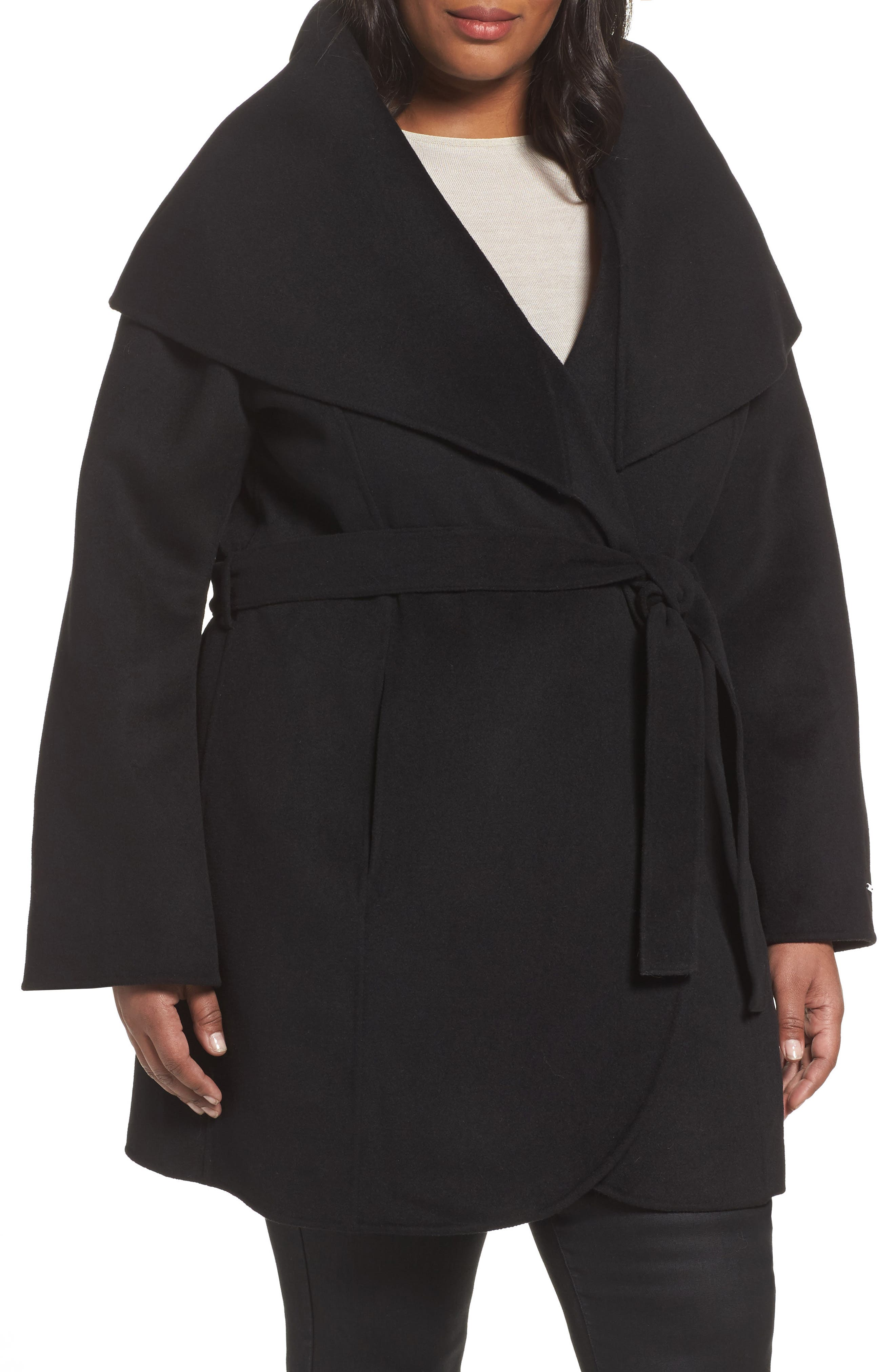 Maria Double Face Wool Blend Wrap Coat,                             Main thumbnail 1, color,                             Black