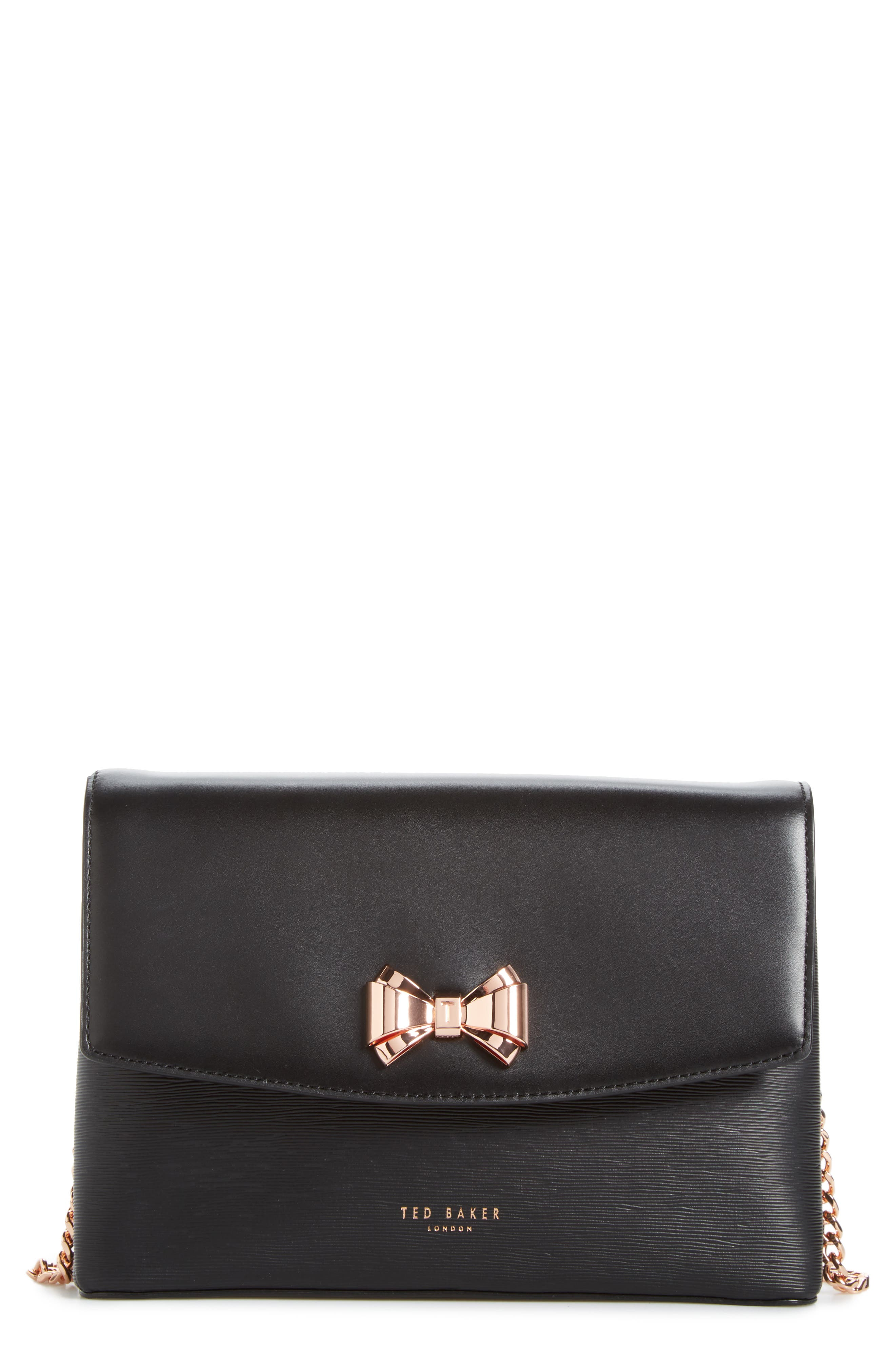 Ted Baker London Curved Bow Flap Leather Crossbody Satchel