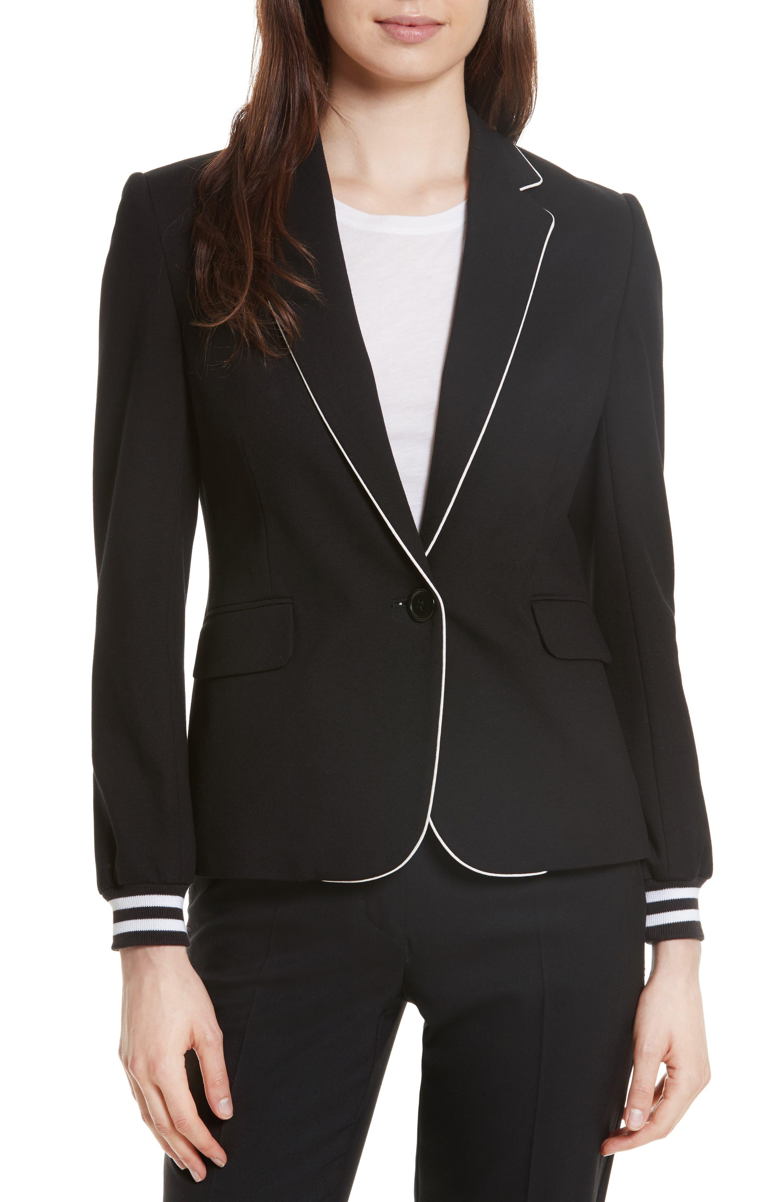 Piped Jersey Blazer,                             Main thumbnail 1, color,                             Black/ White