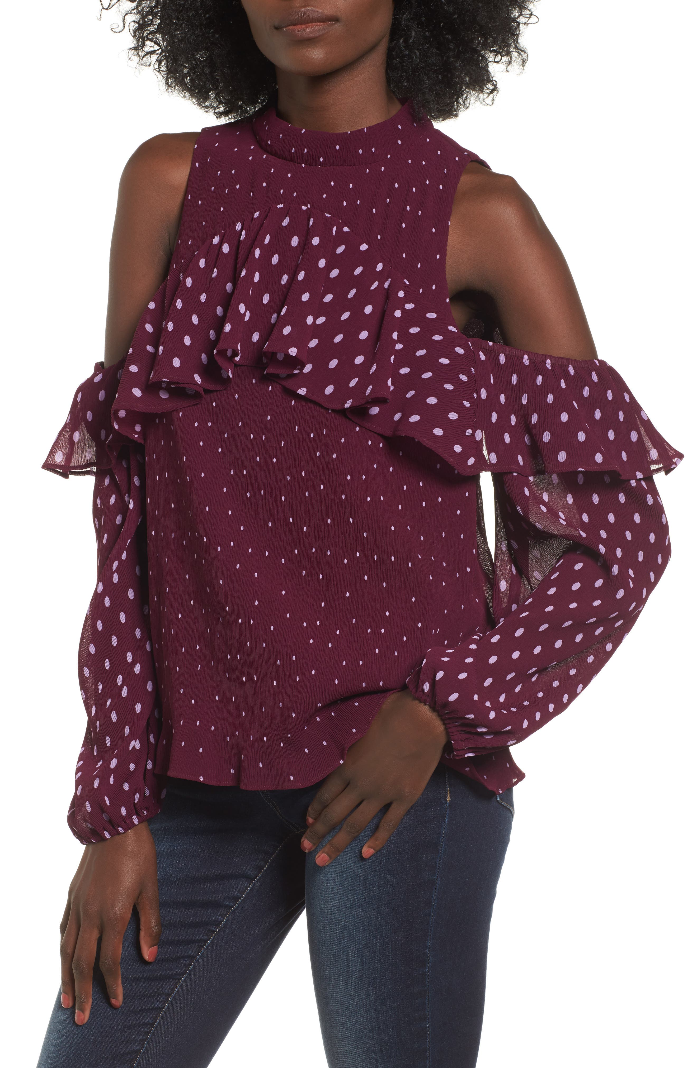 Alternate Image 1 Selected - devlin Savannah Cold Shoulder Blouse
