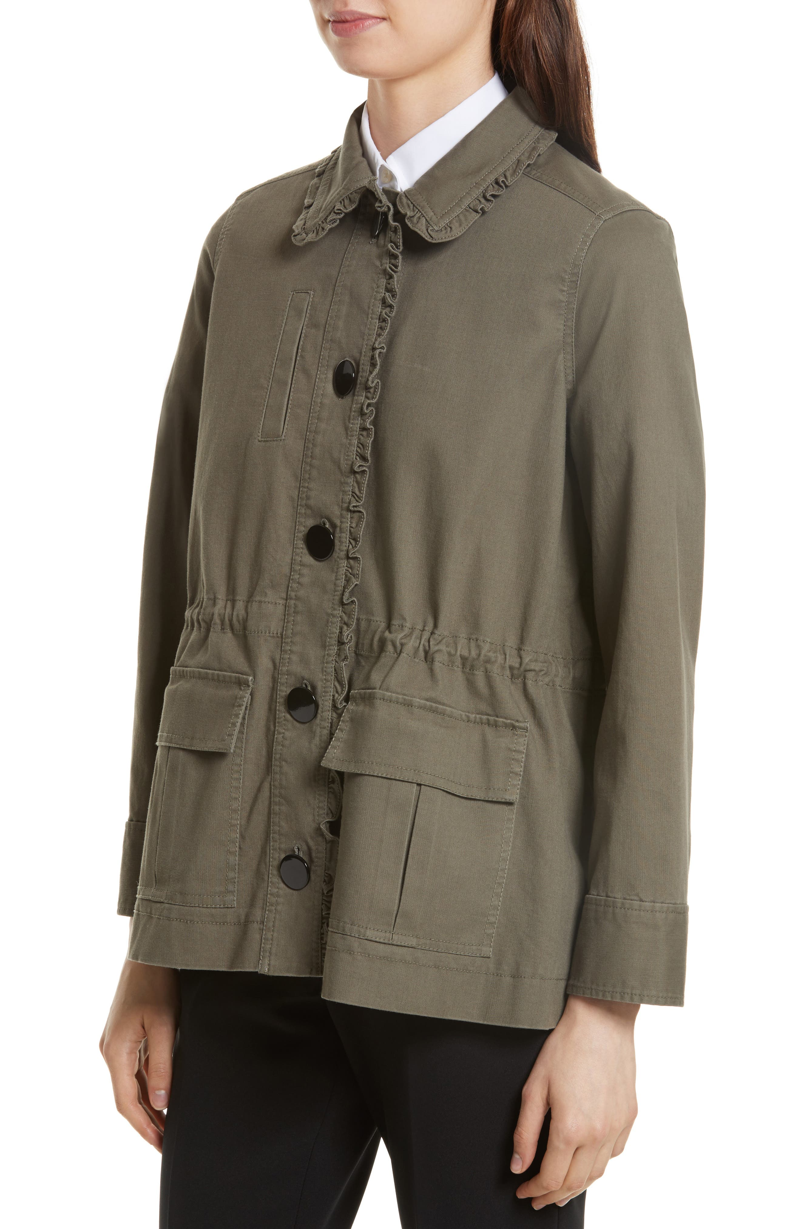 ruffle military jacket,                             Alternate thumbnail 4, color,                             Green