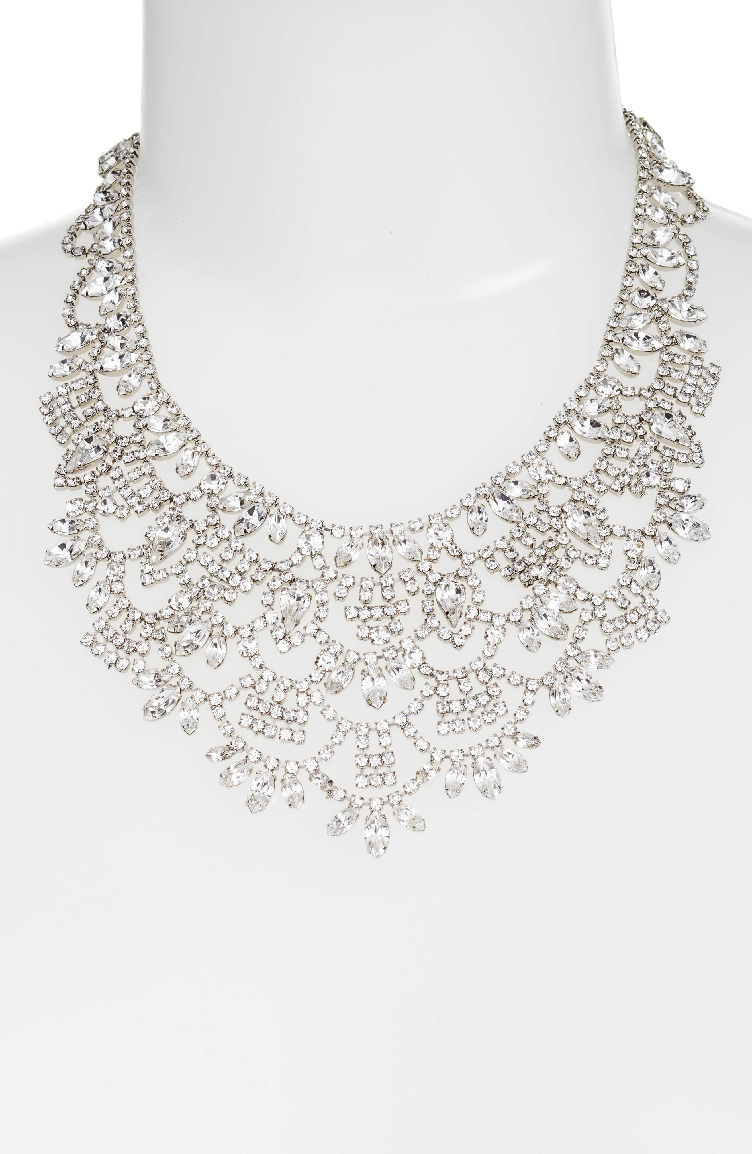 Crystal Bib Necklace,                             Alternate thumbnail 2, color,                             Silver