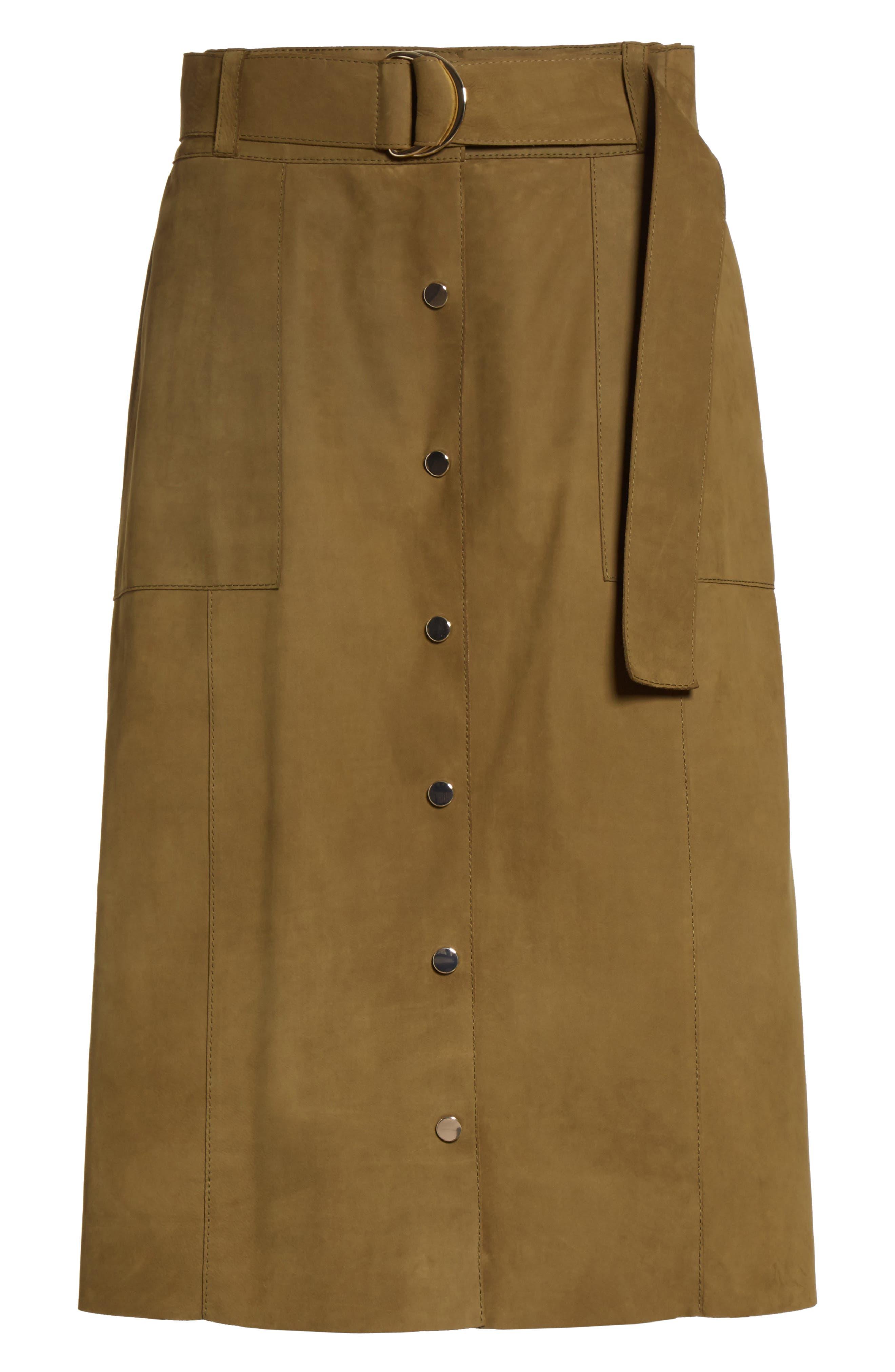 Orla Leather Skirt,                             Alternate thumbnail 4, color,                             Kelp