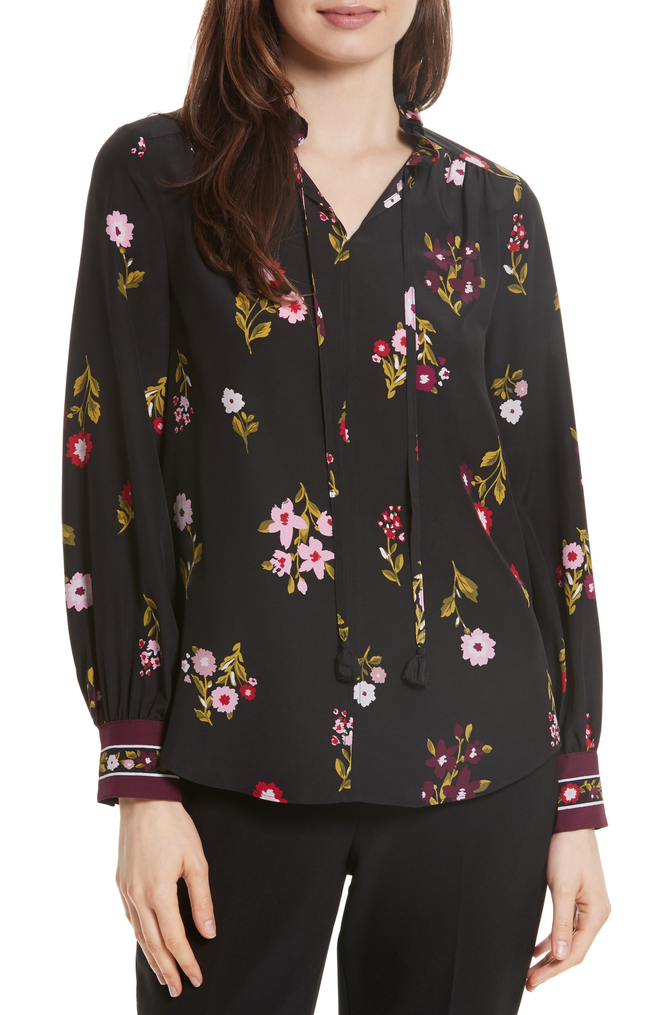 in bloom silk top,                         Main,                         color, Black