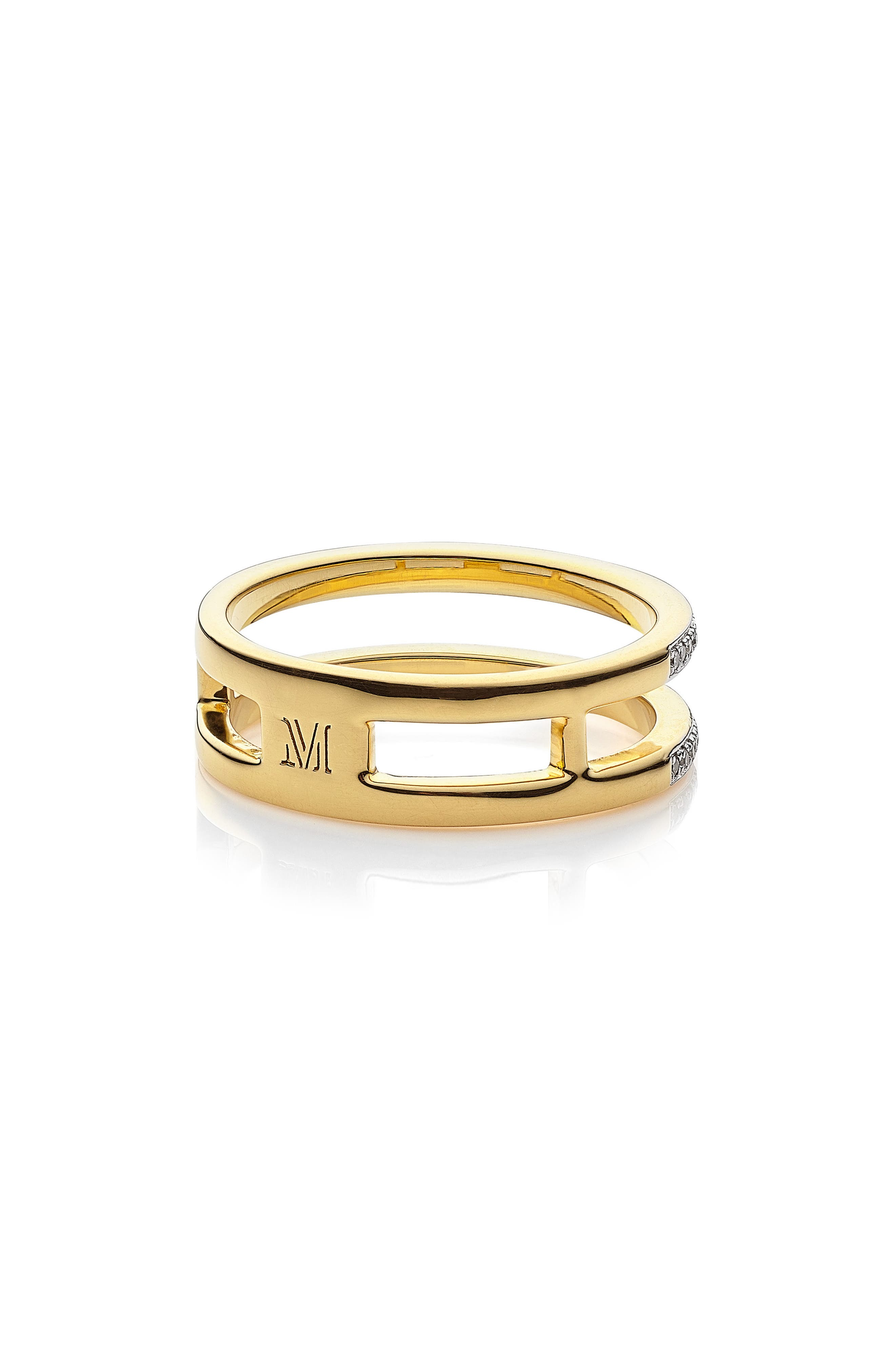 Skinny Double Band Diamond Ring,                             Alternate thumbnail 2, color,                             Yellow Gold