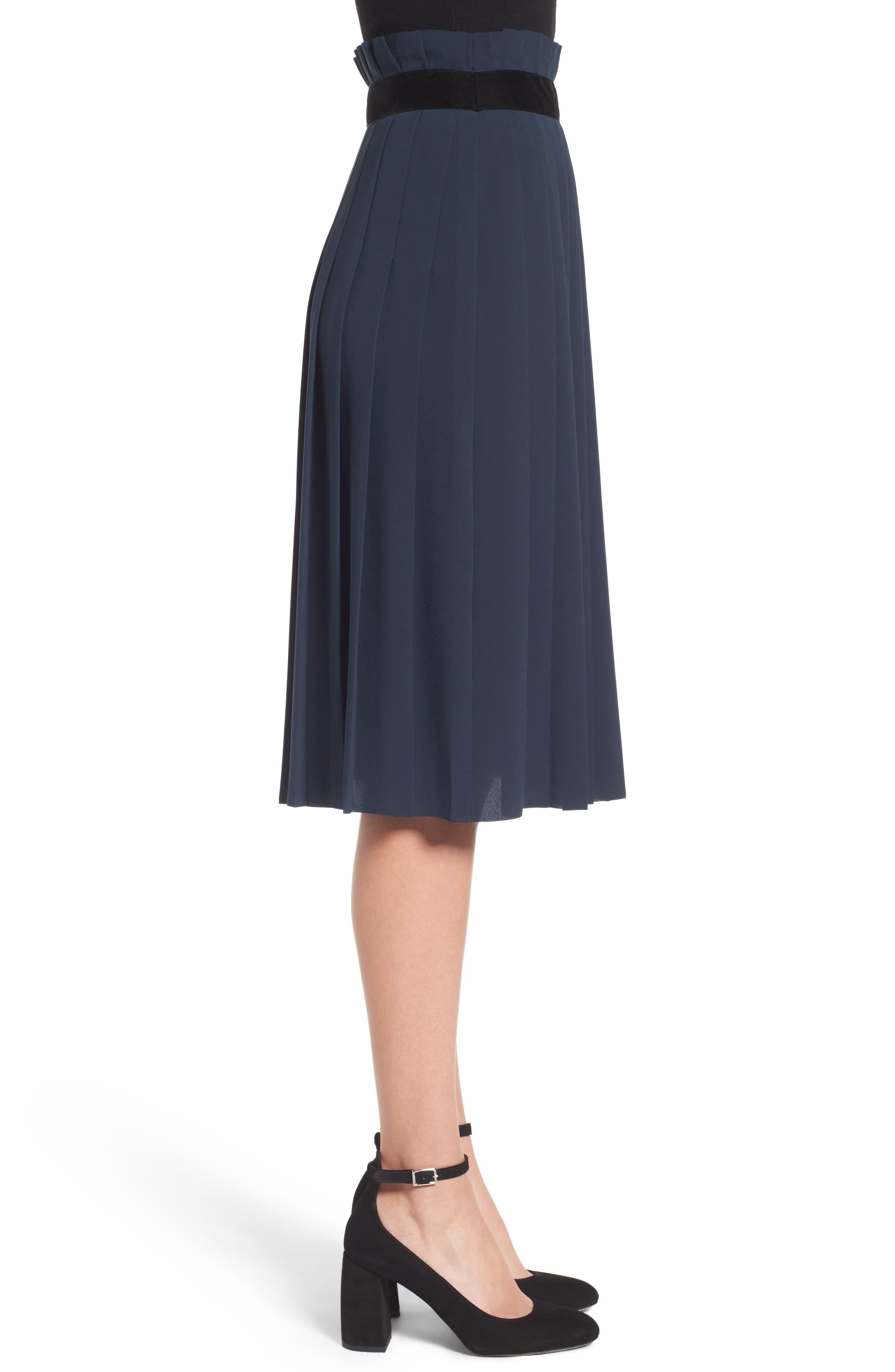 Velvet Trim Pleated Crepe Skirt,                             Alternate thumbnail 3, color,                             Green Scarab