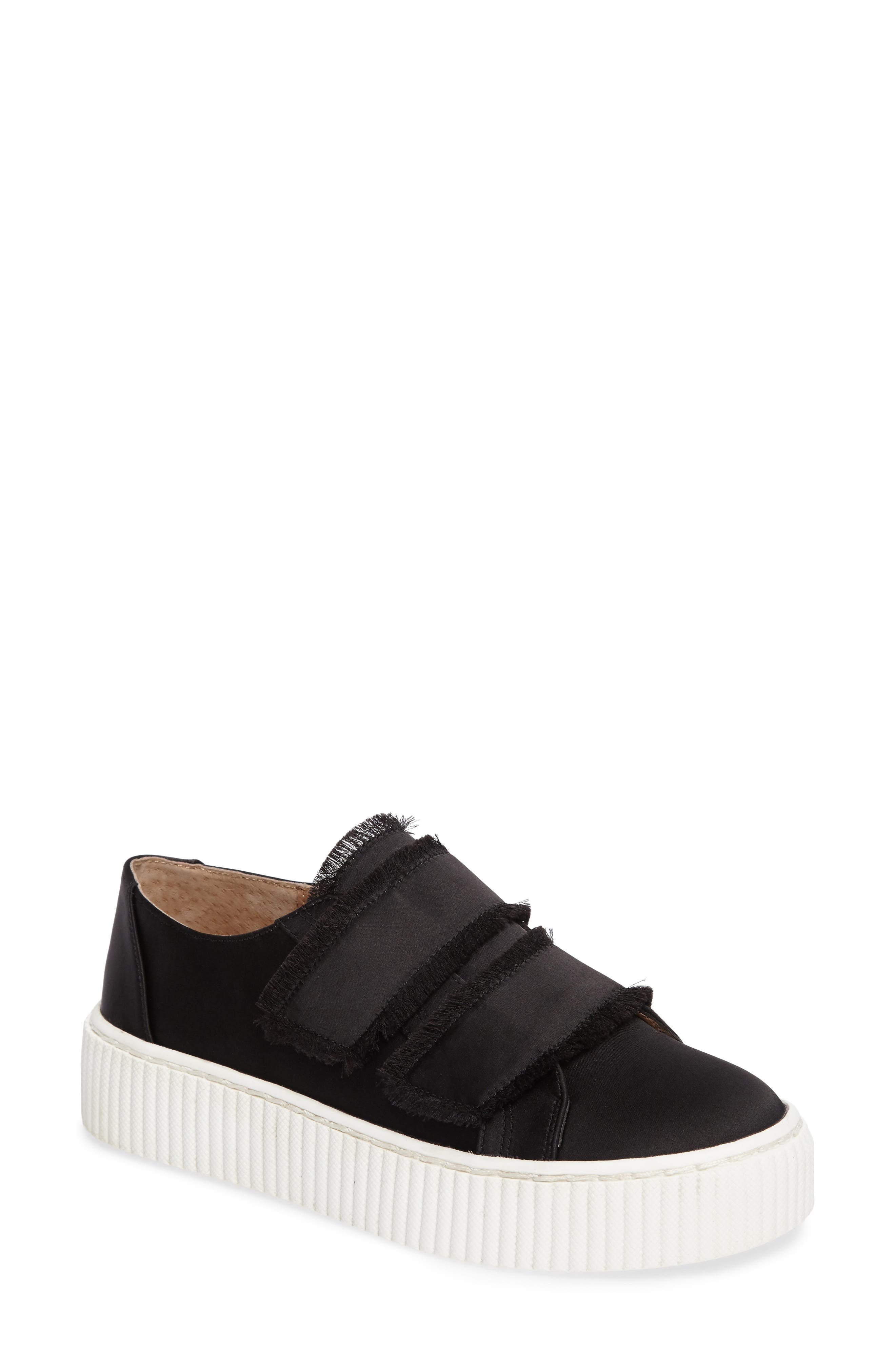Elder Fringed Platform Sneaker,                             Main thumbnail 1, color,                             Black