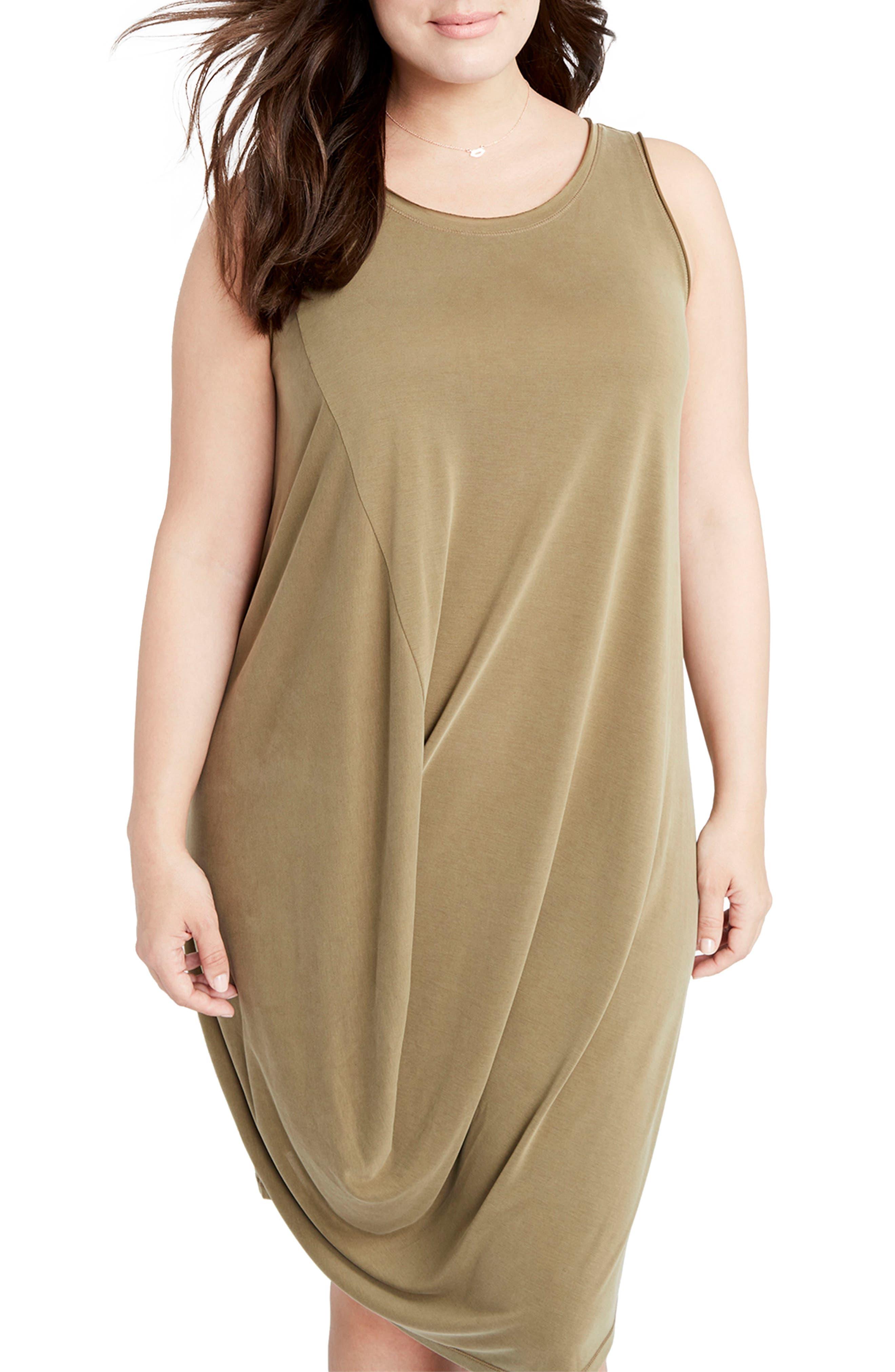 RACHEL Rachel Roy Drape Front Shift Dress (Plus Size)