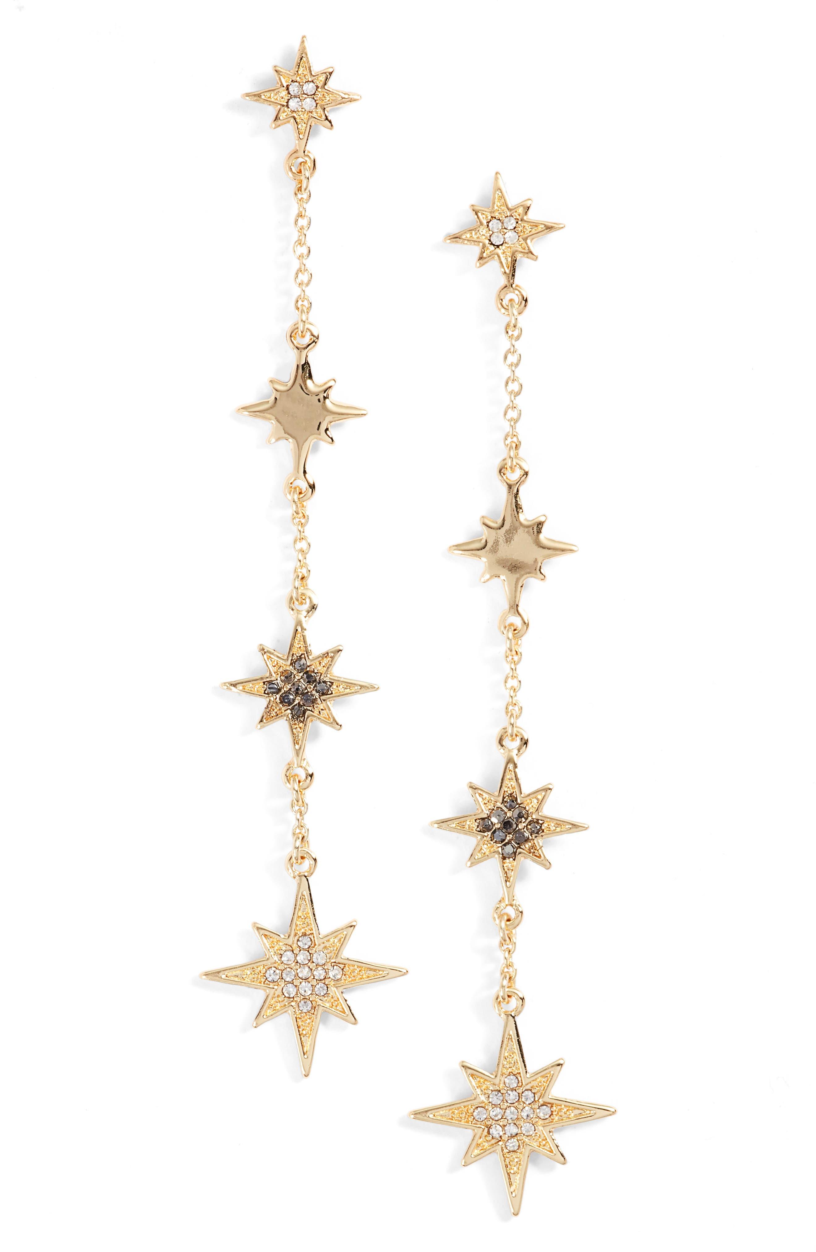 REBECCA MINKOFF Stargazing Night Sky Linear Earrings