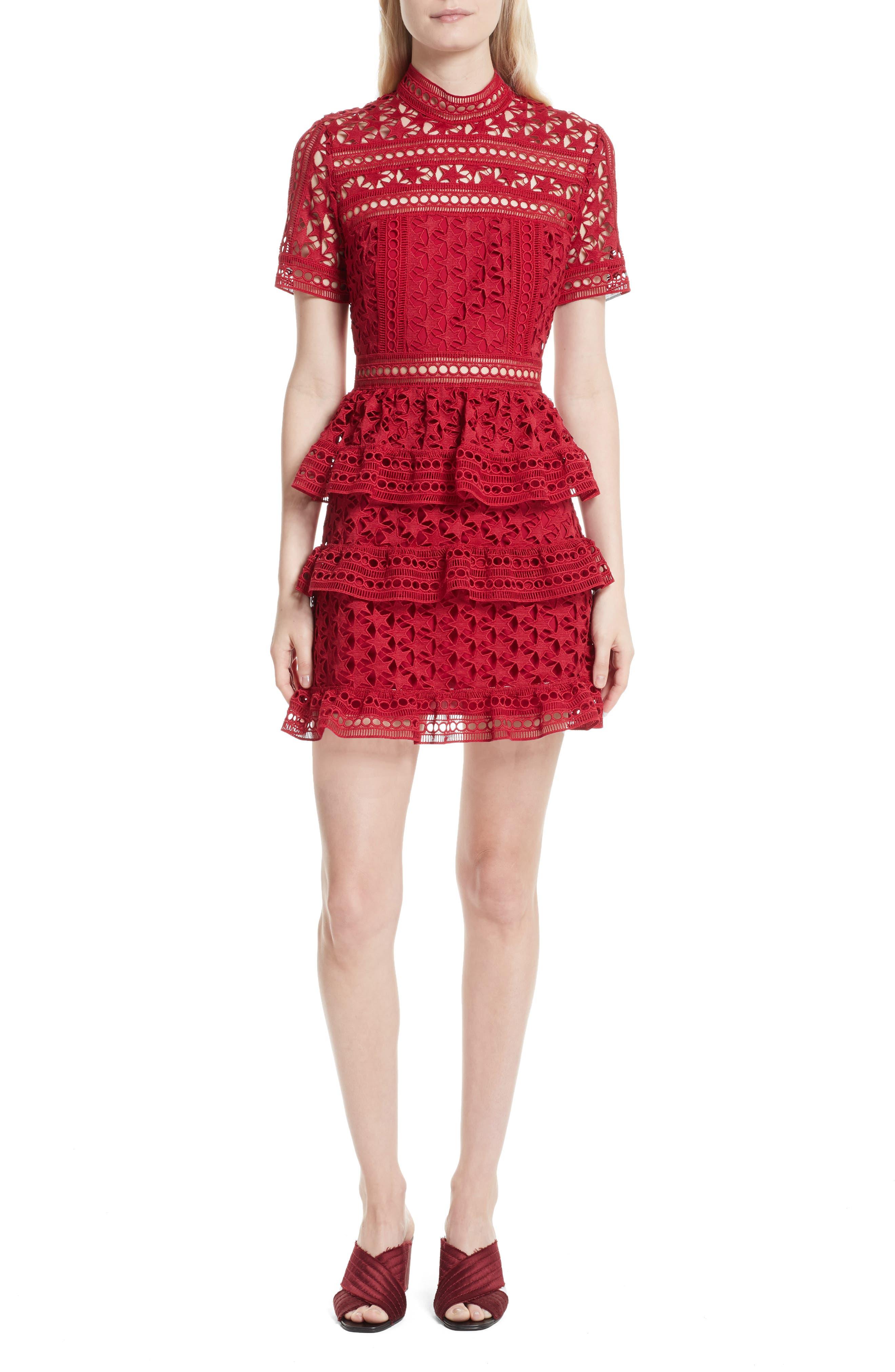 Self-Portrait Ruffle Star Lace Dress