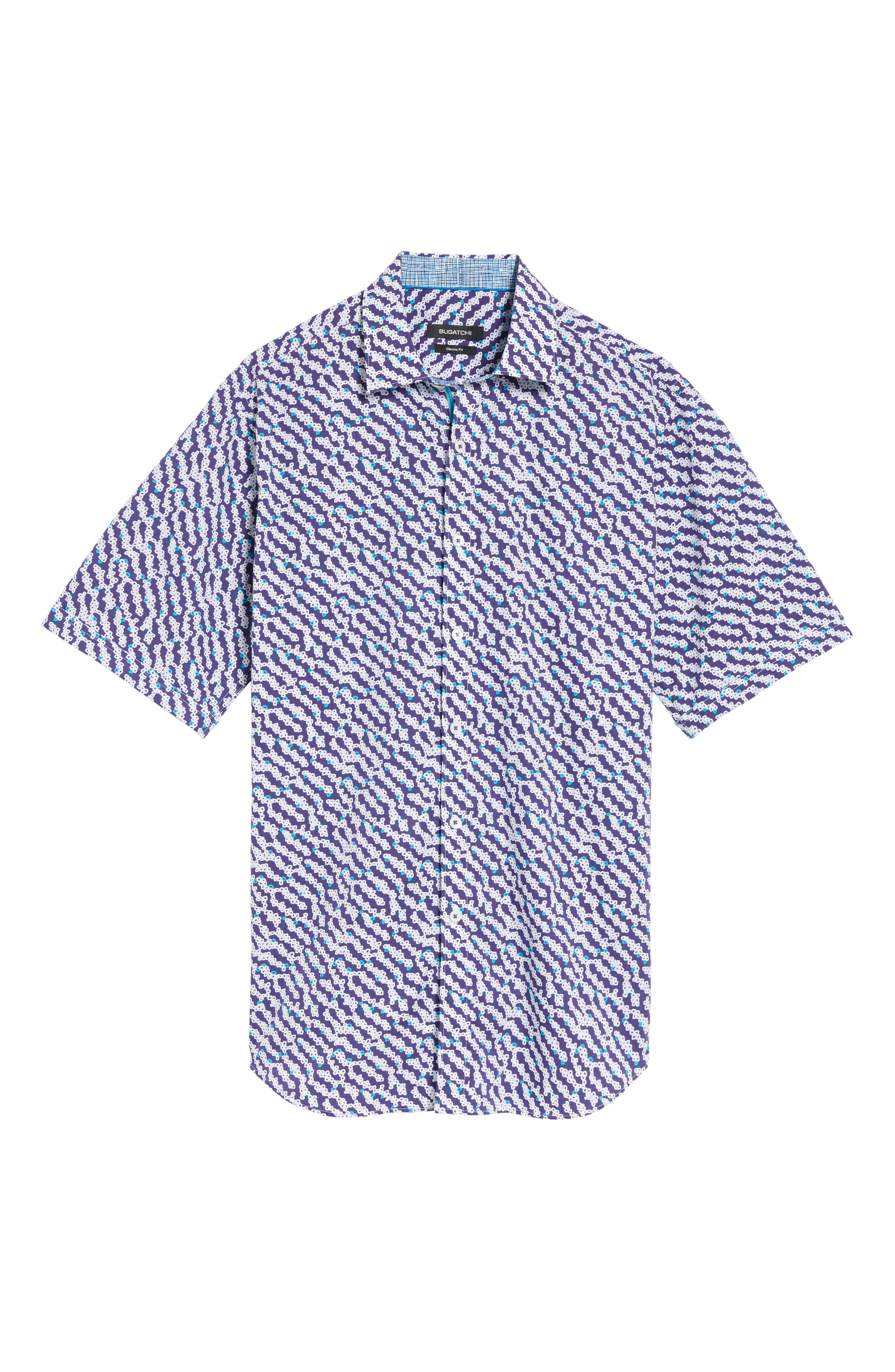 Alternate Image 6  - Bugatchi Classic Fit Print Short Sleeve Sport Shirt