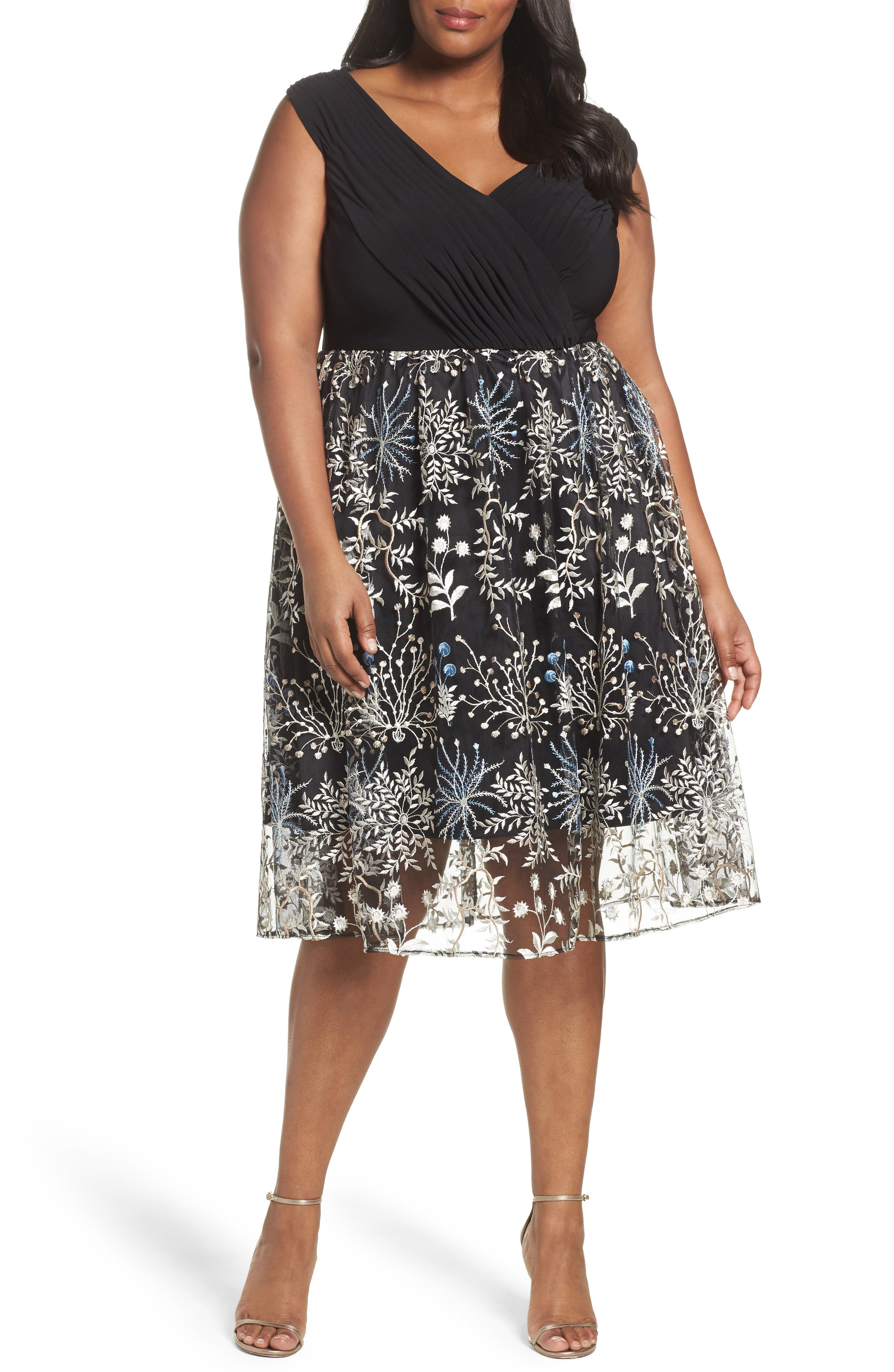 ADRIANNA PAPELL Embroidered Overlay Fit & Flare Dress