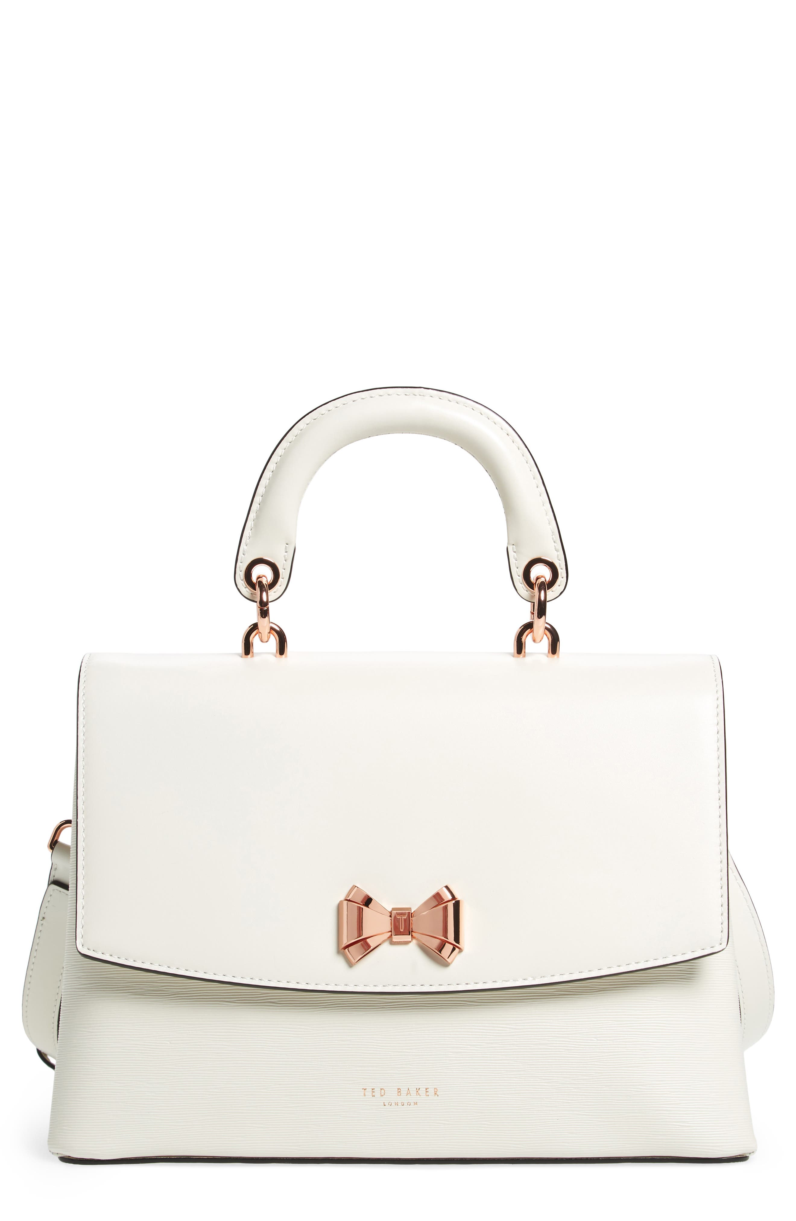 Lady Bow Flap Top Handle Leather Satchel,                             Main thumbnail 1, color,                             Ivory