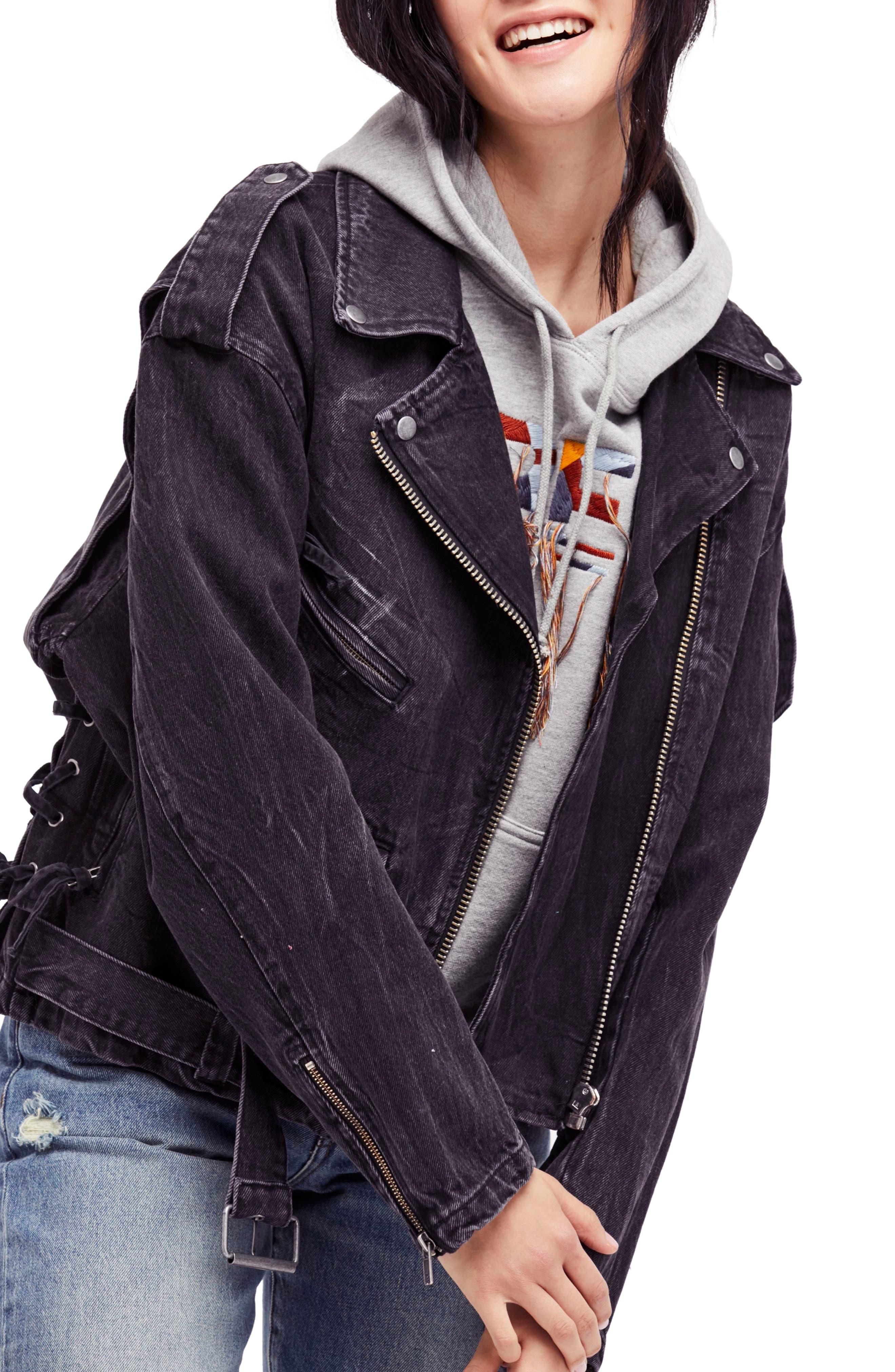 Free People Oversize Denim Moto Jacket