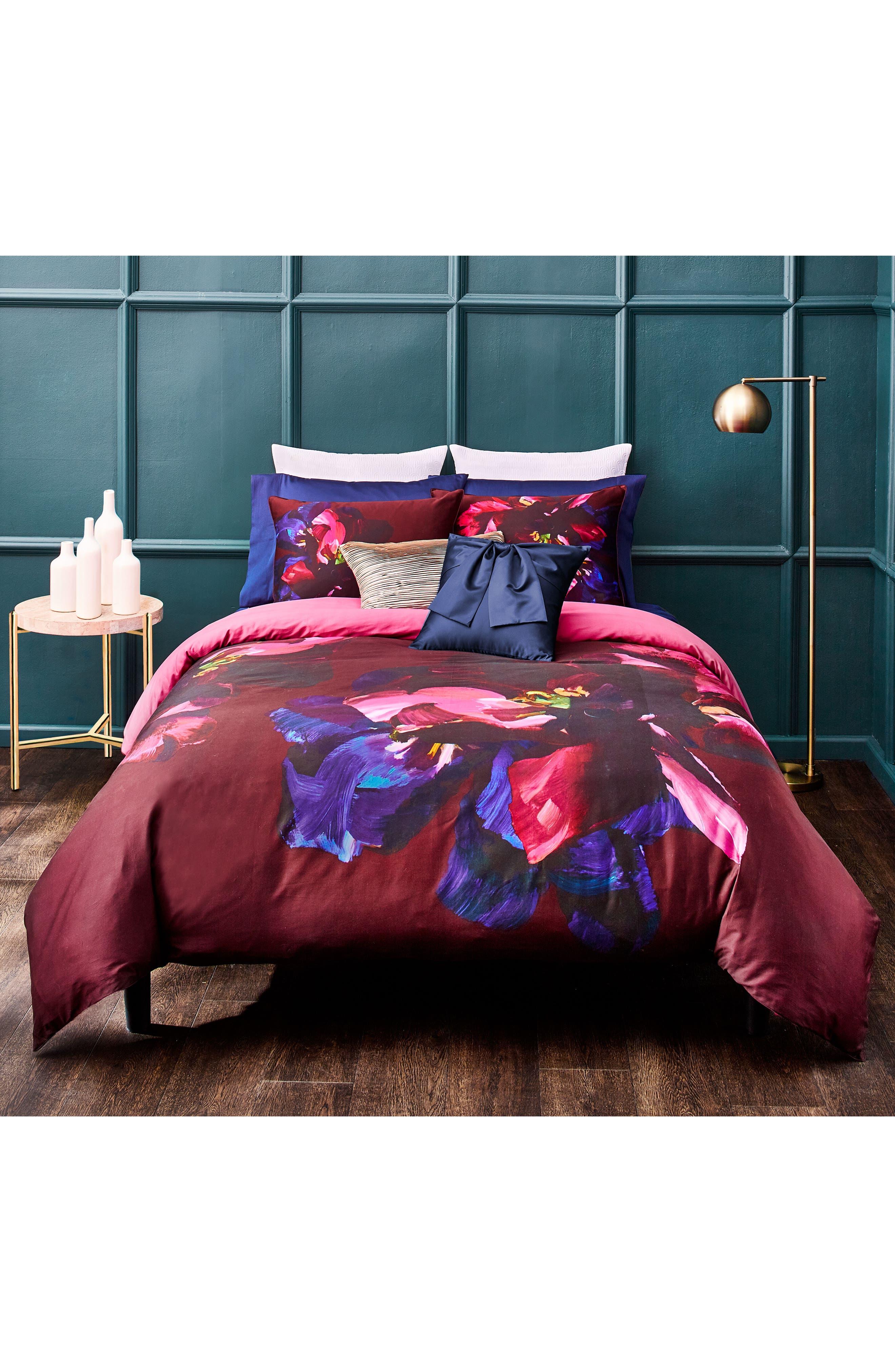 Impressionist Bloom Comforter & Sham Set,                         Main,                         color, Wine