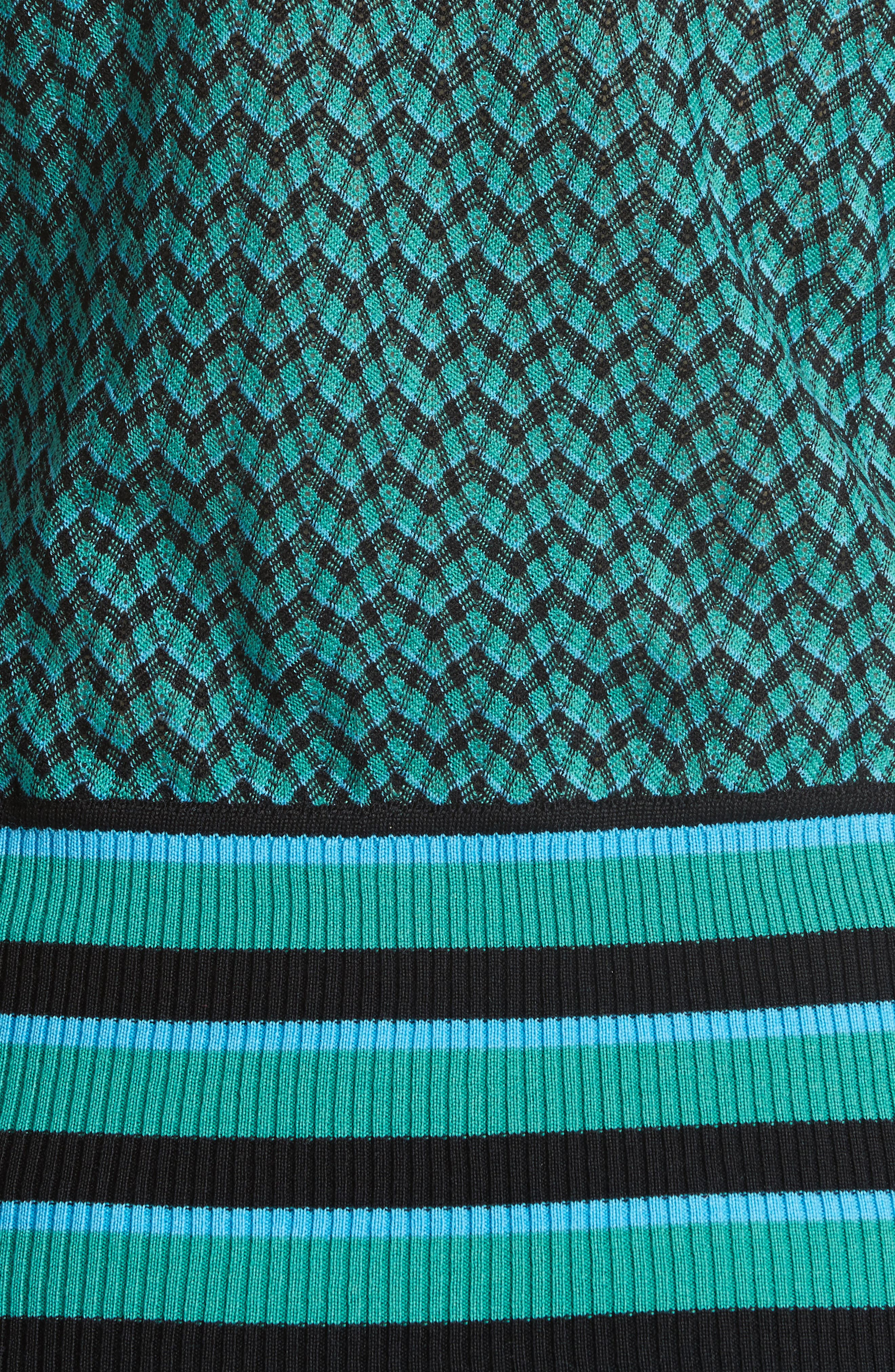 Zigzag & Stripe Mock Neck Sweater,                             Alternate thumbnail 5, color,                             Green/ Blue