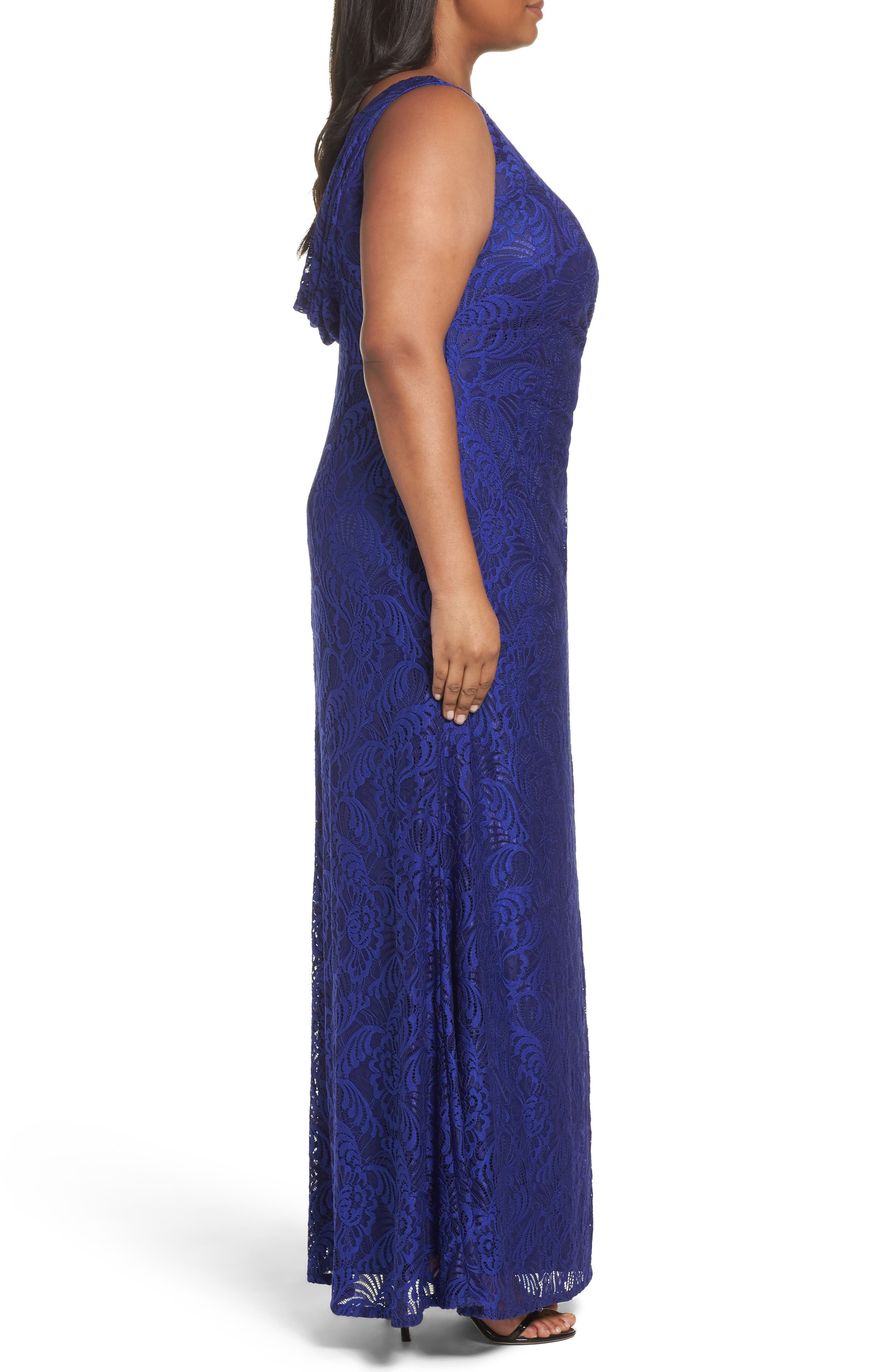 Alternate Image 3  - Adrianna Papell Cowl Back Stretch Lace Gown (Plus Size)