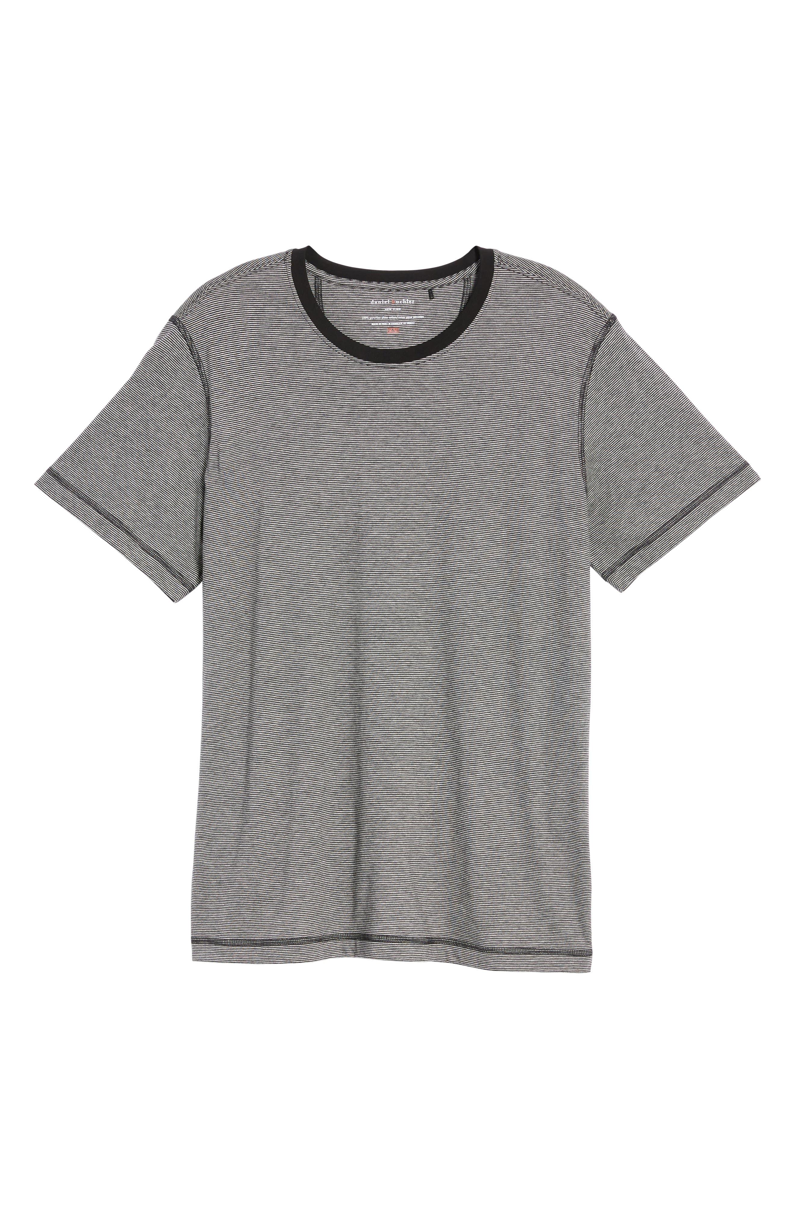 Peruvian Pima Cotton T-Shirt,                             Alternate thumbnail 5, color,                             Black/ Grey Heather