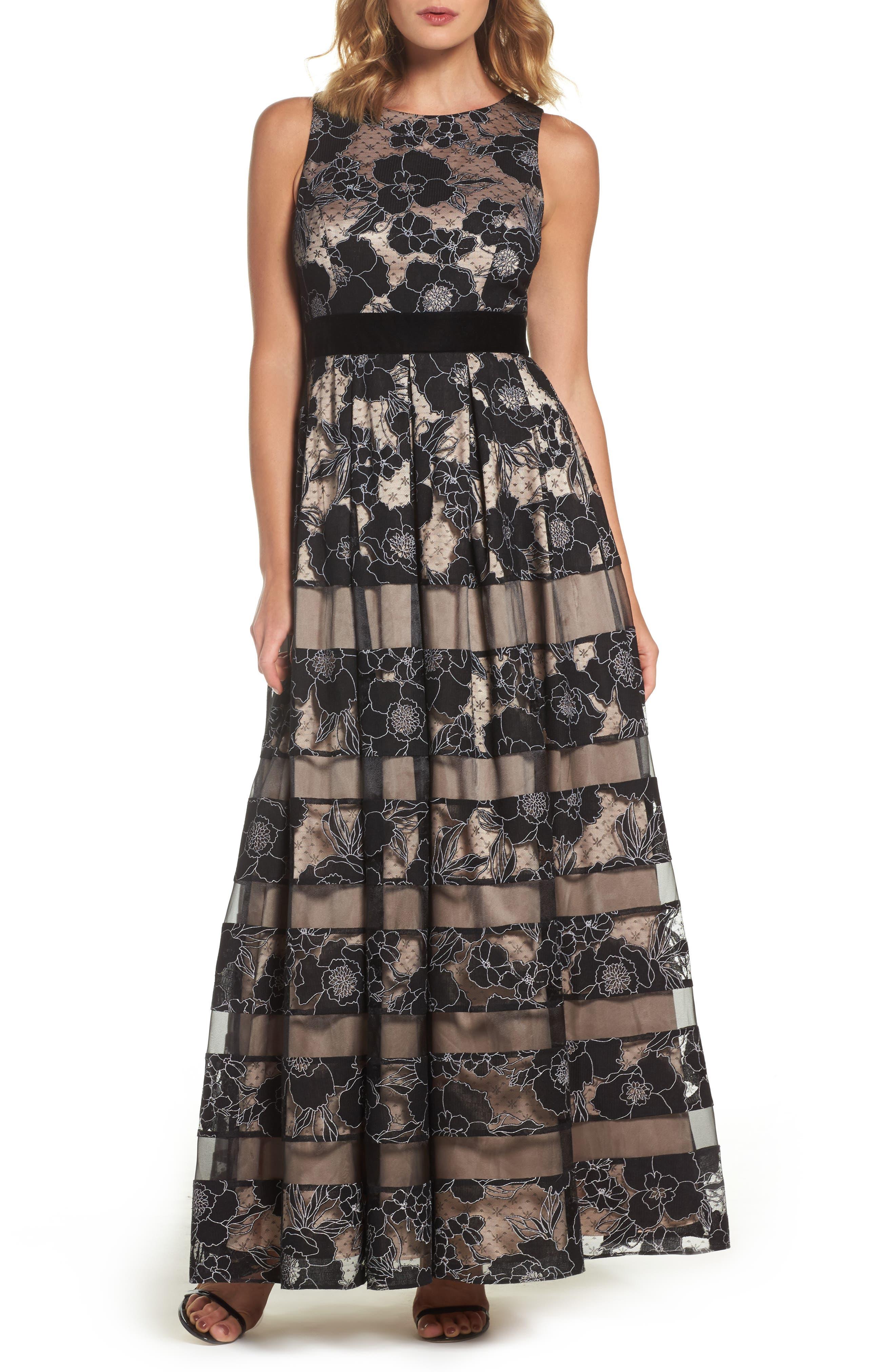 Inset Waist Panel Lace Ballgown,                         Main,                         color, Black/ Tan