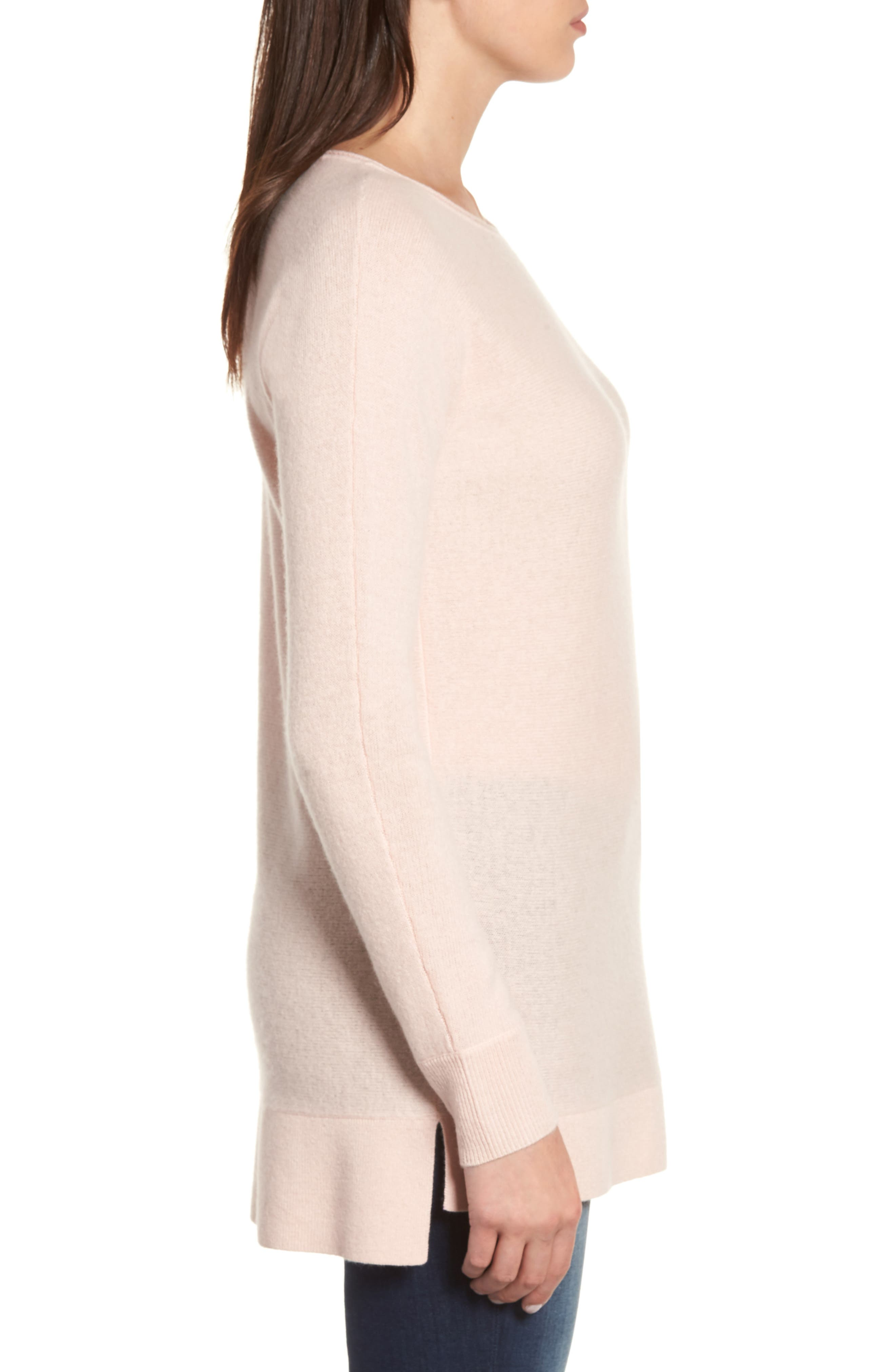 High/Low Wool & Cashmere Tunic Sweater,                             Alternate thumbnail 3, color,                             Pink Smoke