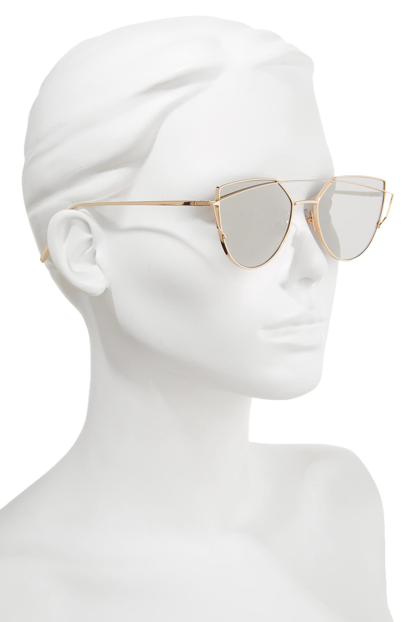Love Punch 55mm Titanium Aviator Sunglasses,                             Alternate thumbnail 2, color,                             Gold Mirror