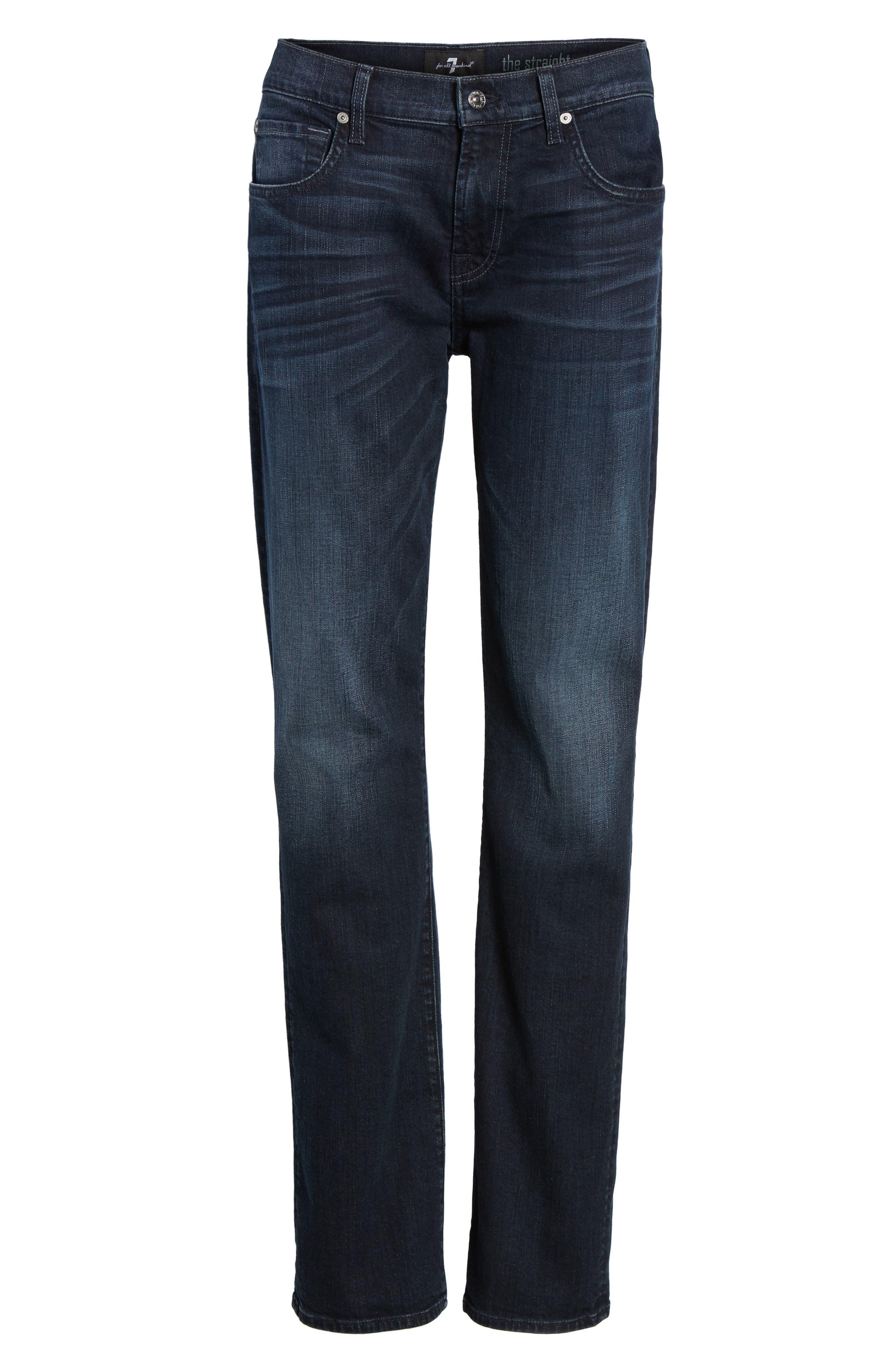 Alternate Image 6  - 7 For All Mankind® The Straight Slim Straight Leg Jeans (Dark Current)