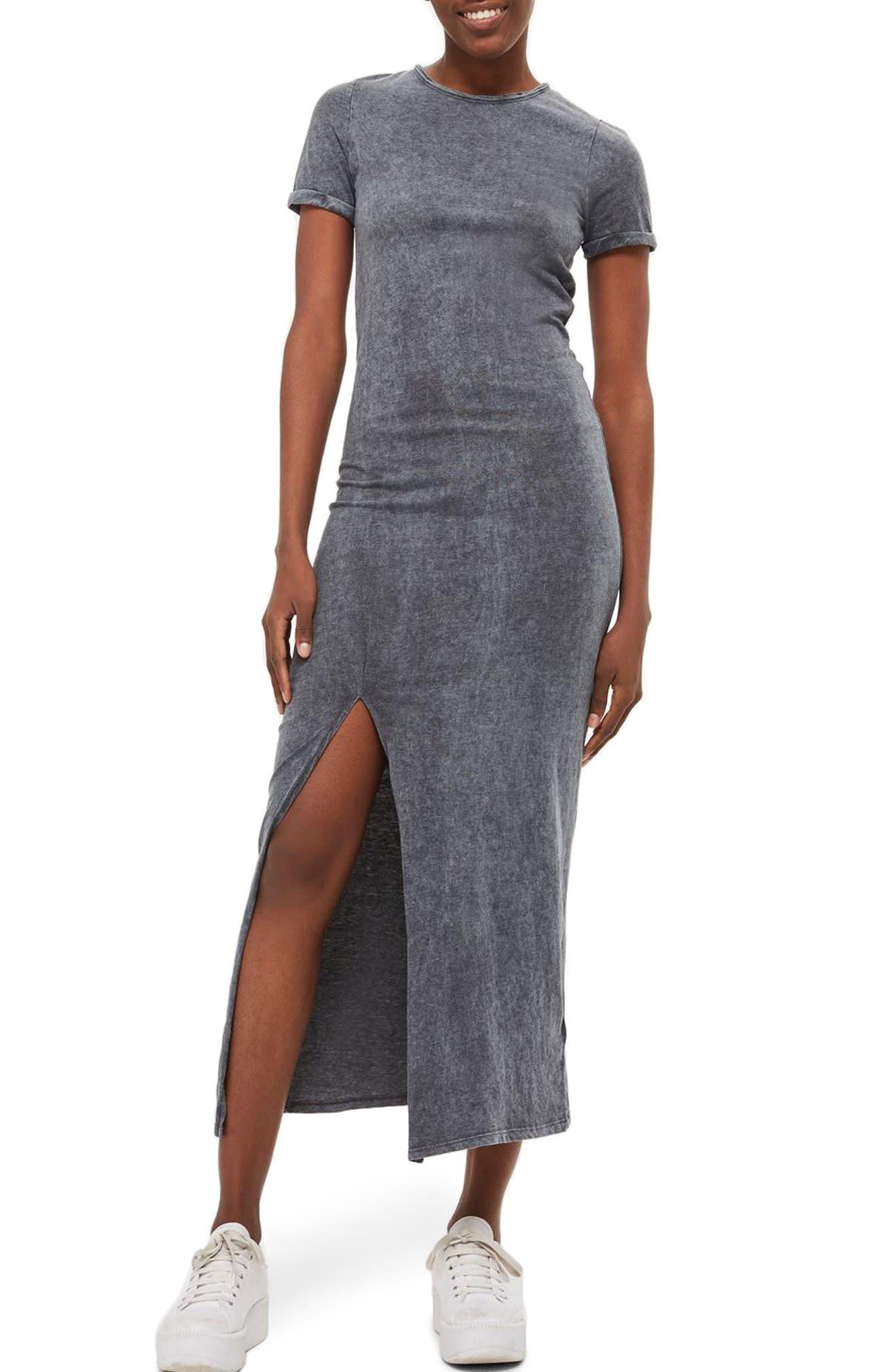 Lattice Back Jersey Maxi Dress,                         Main,                         color, Grey