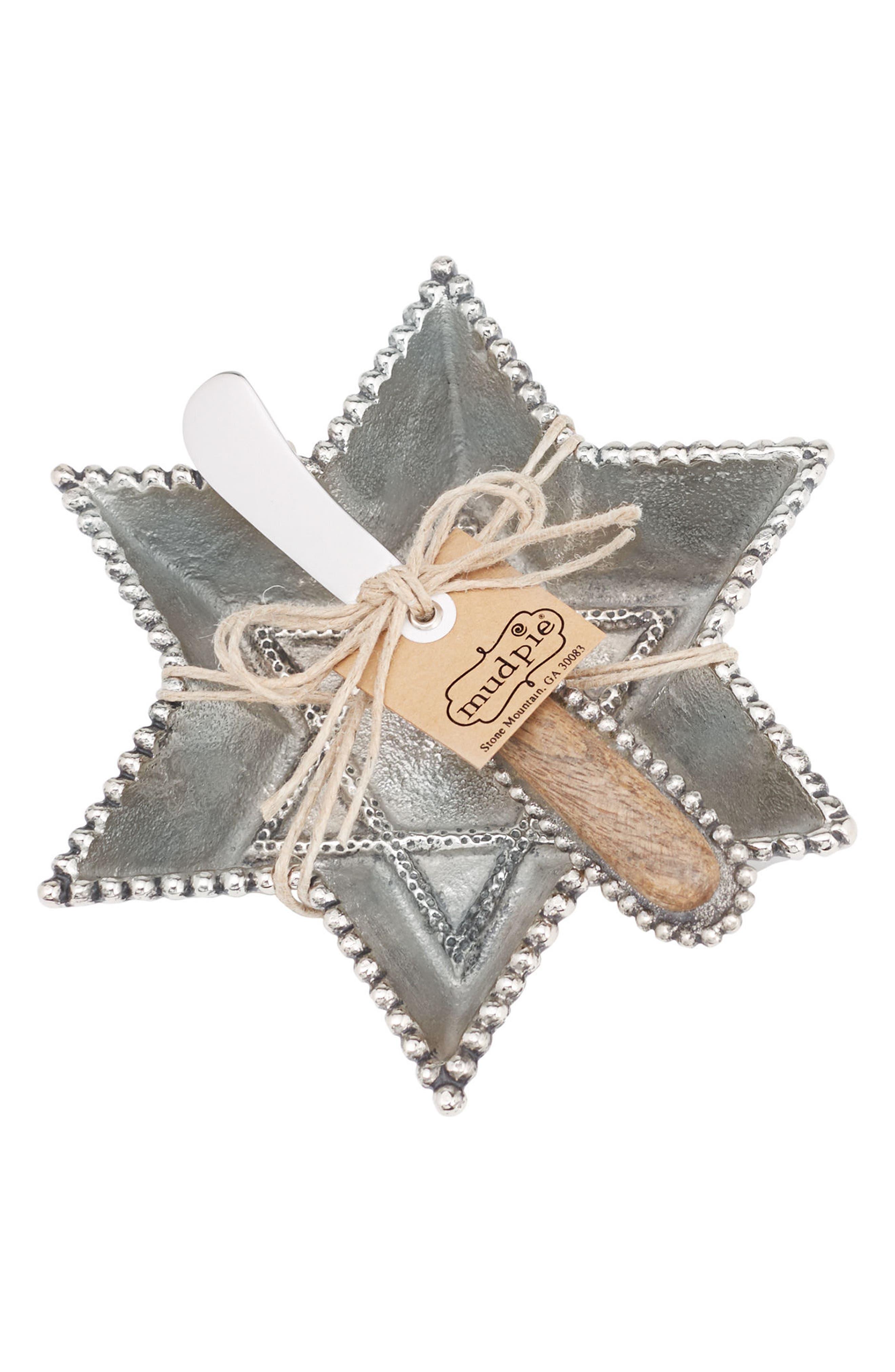 Star of David Dip Cup & Spreader,                         Main,                         color, Silver