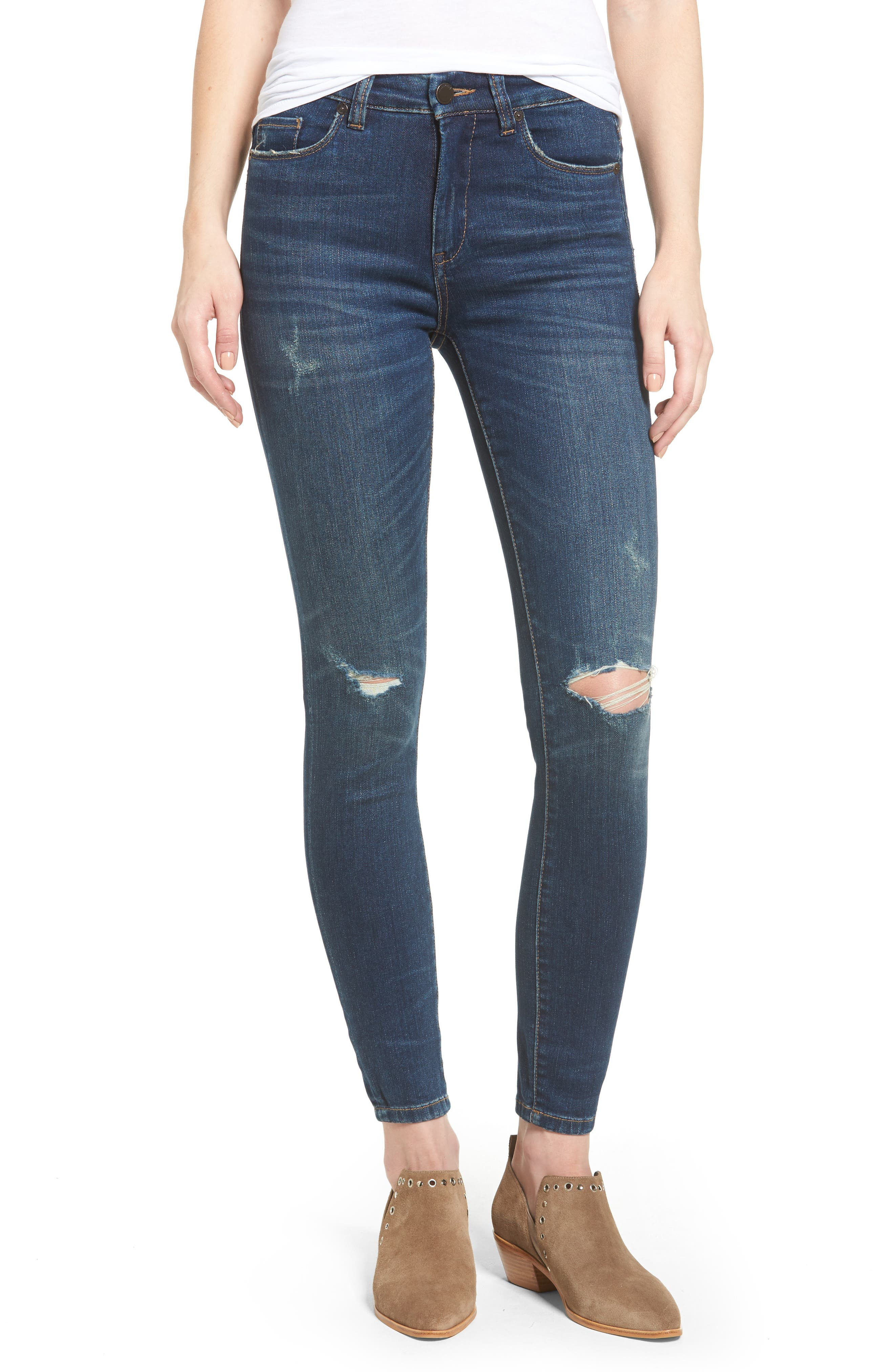 Alternate Image 1 Selected - BLANKNYC Ripped Mid Rise Skinny Ankle Jeans (Playing Favorites)